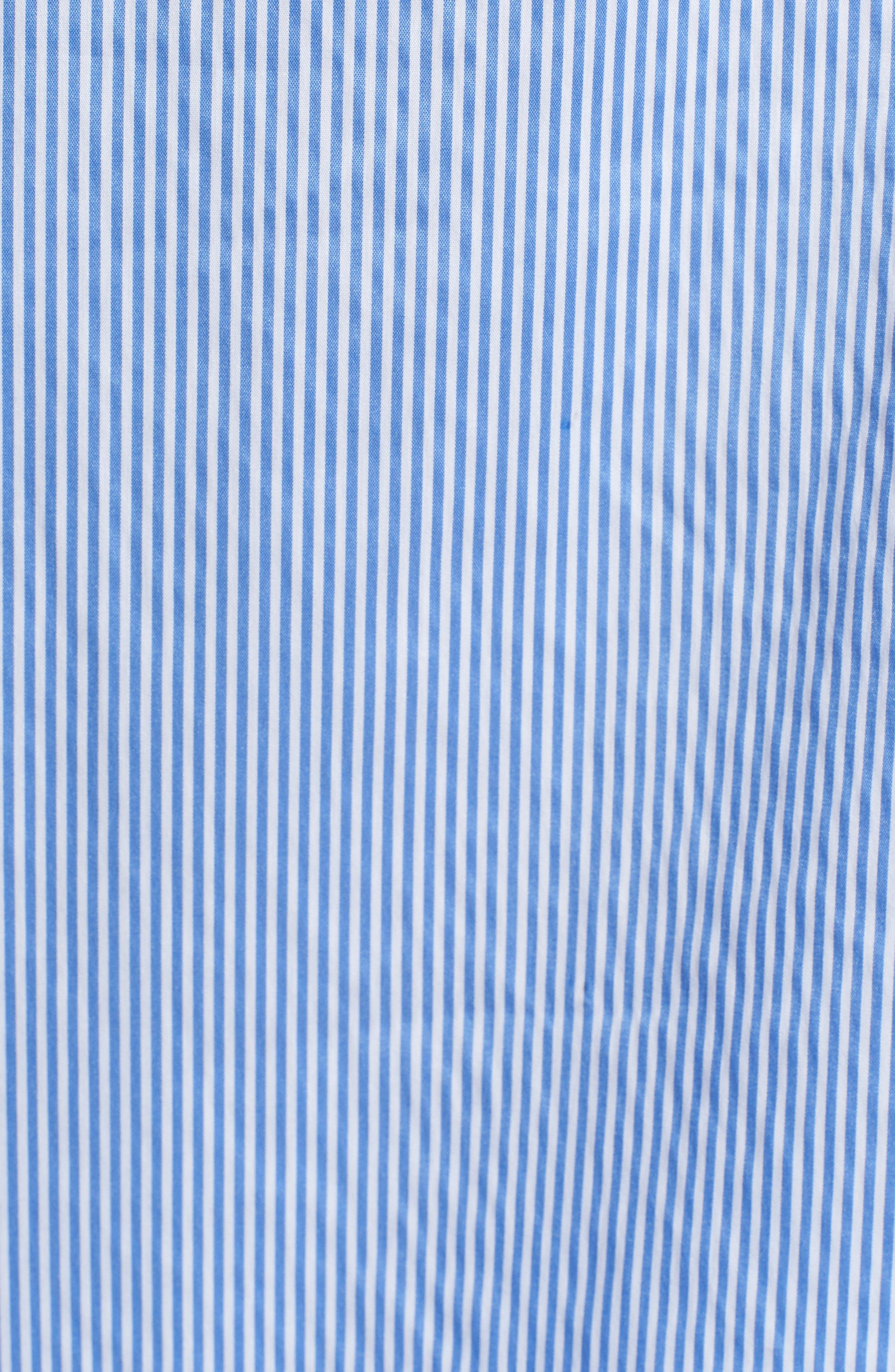 Stripe Ruffle Poplin Top,                             Alternate thumbnail 6, color,                             Blue Stream Stripe