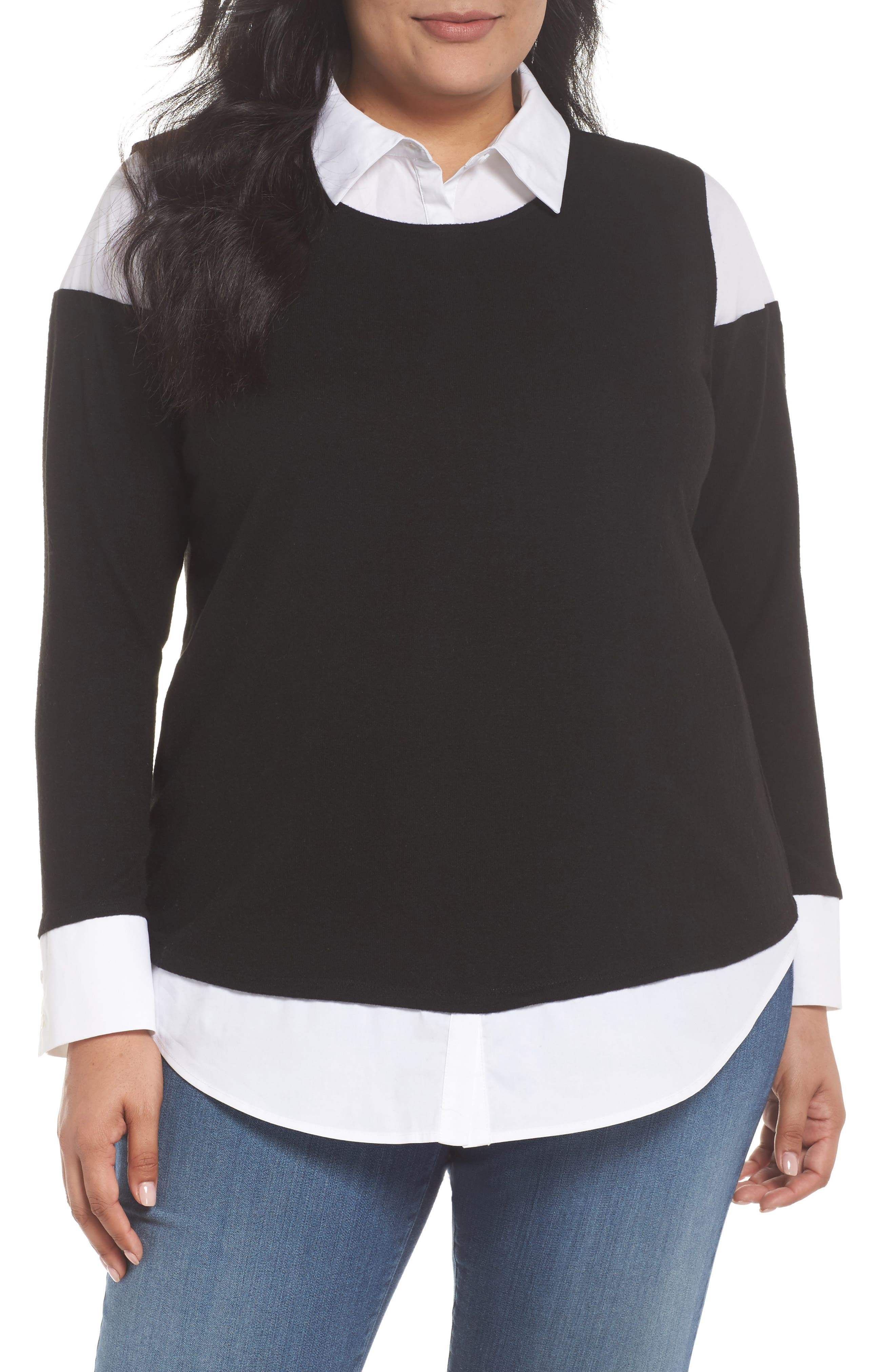 Alternate Image 1 Selected - Vince Camuto Mix Media Brushed Jersey Top (Plus Size)