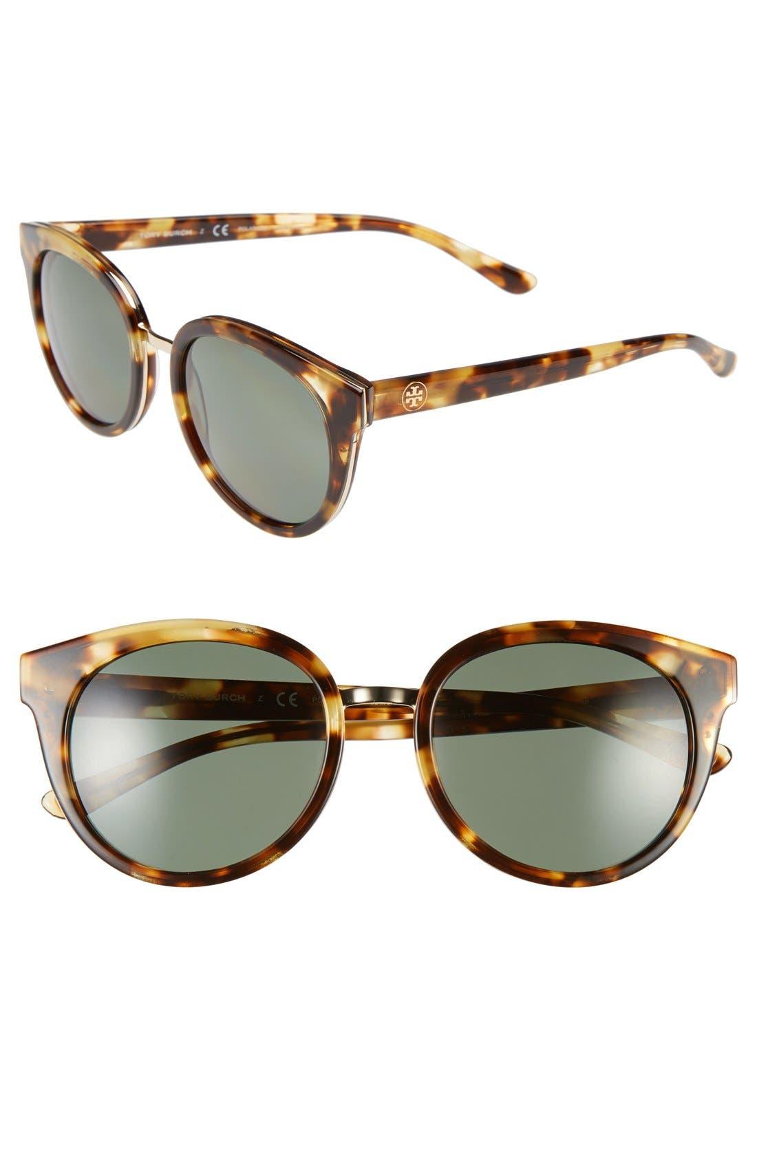 53mm Polarized Retro Sunglasses,                             Main thumbnail 1, color,                             Light Tortoise/ Polar