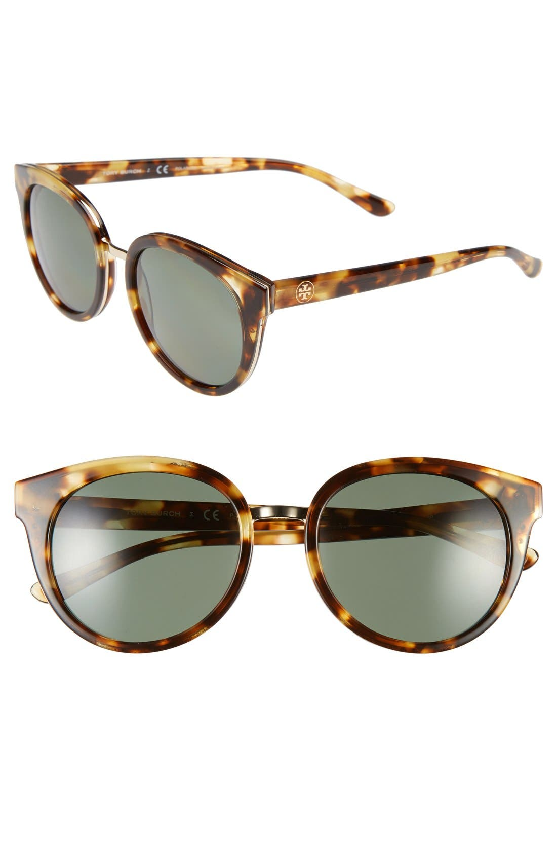 53mm Polarized Retro Sunglasses,                         Main,                         color, Light Tortoise/ Polar