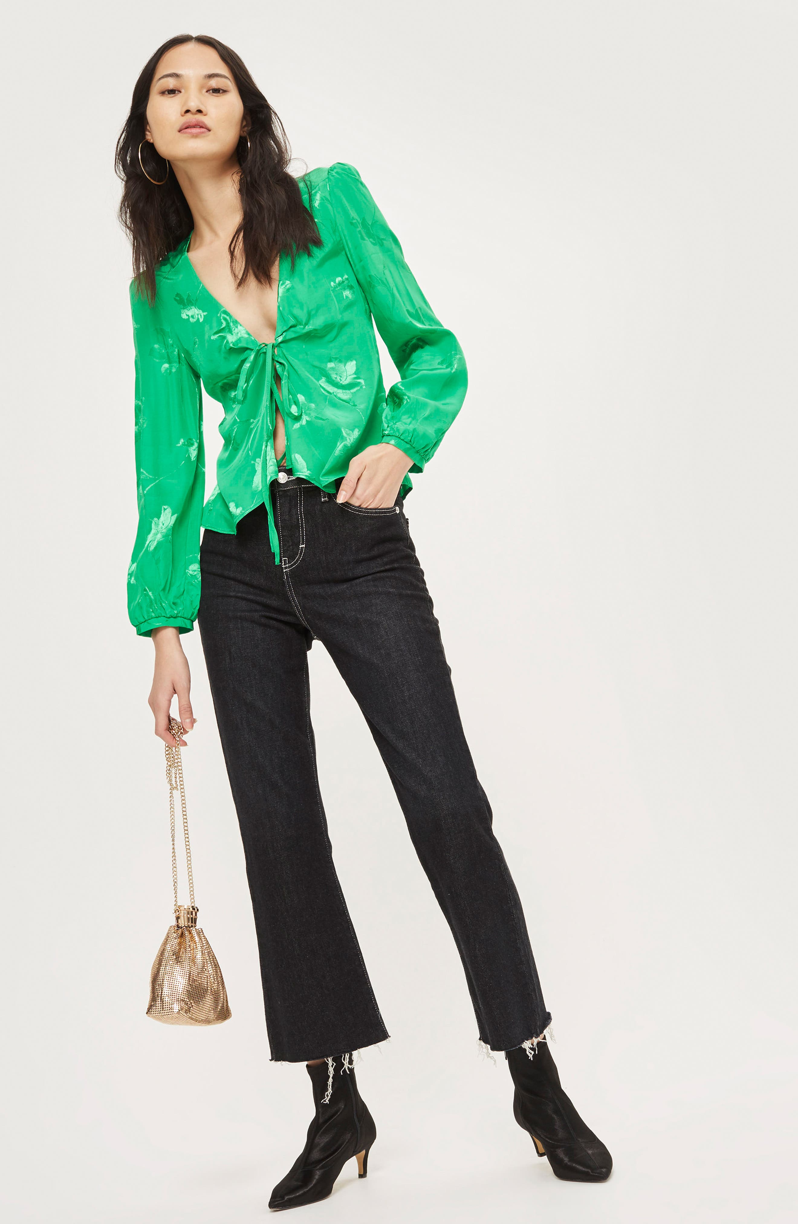 Floral Jacquard Blouse,                             Alternate thumbnail 2, color,                             Green