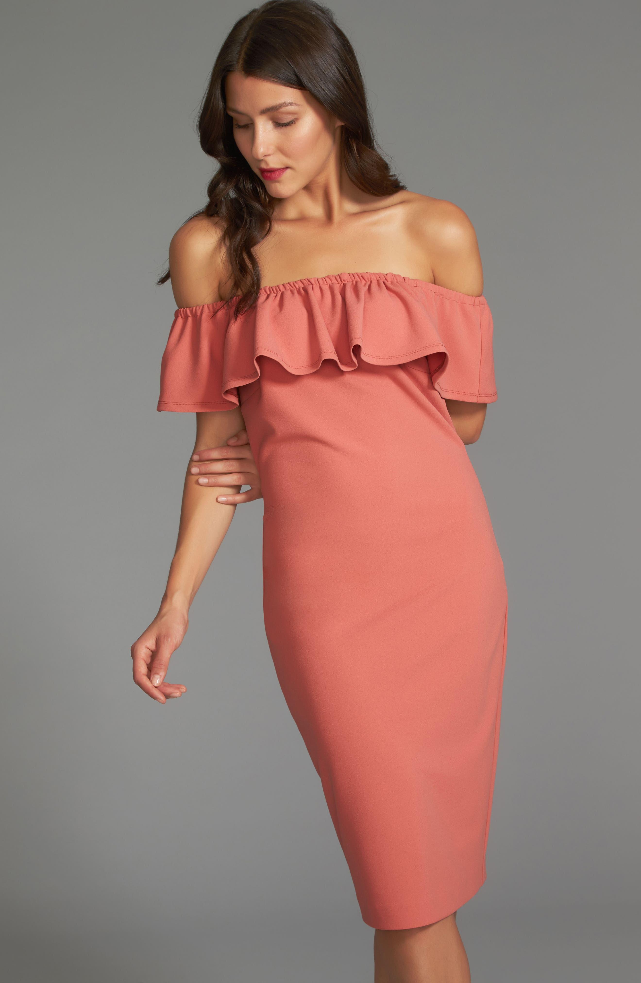 Ruffle Off the Shoulder Dress,                             Alternate thumbnail 2, color,                             Cedar Rose