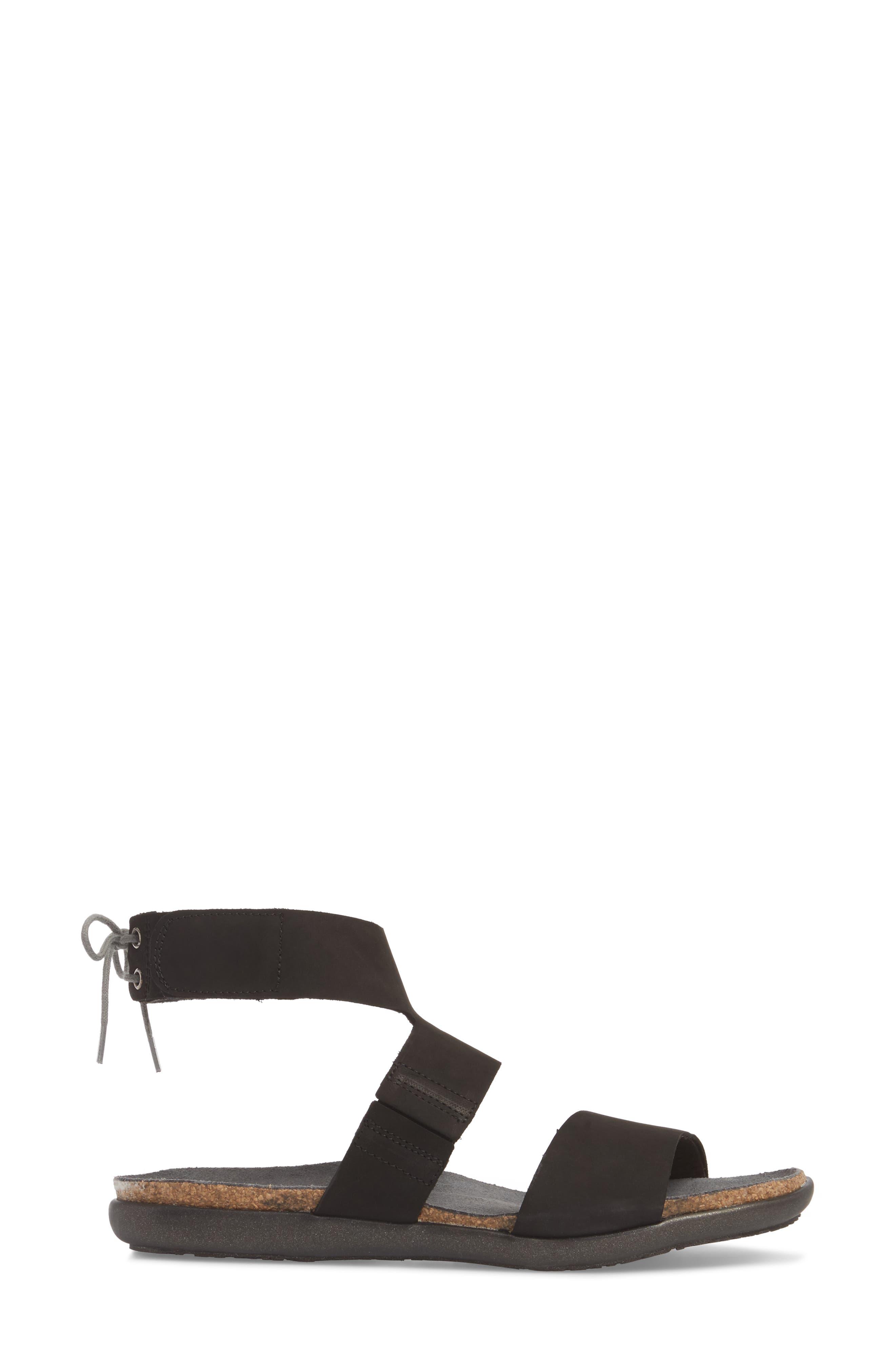 Larissa Ankle Strap Sandal,                             Alternate thumbnail 3, color,                             Black Velvet Nubuck