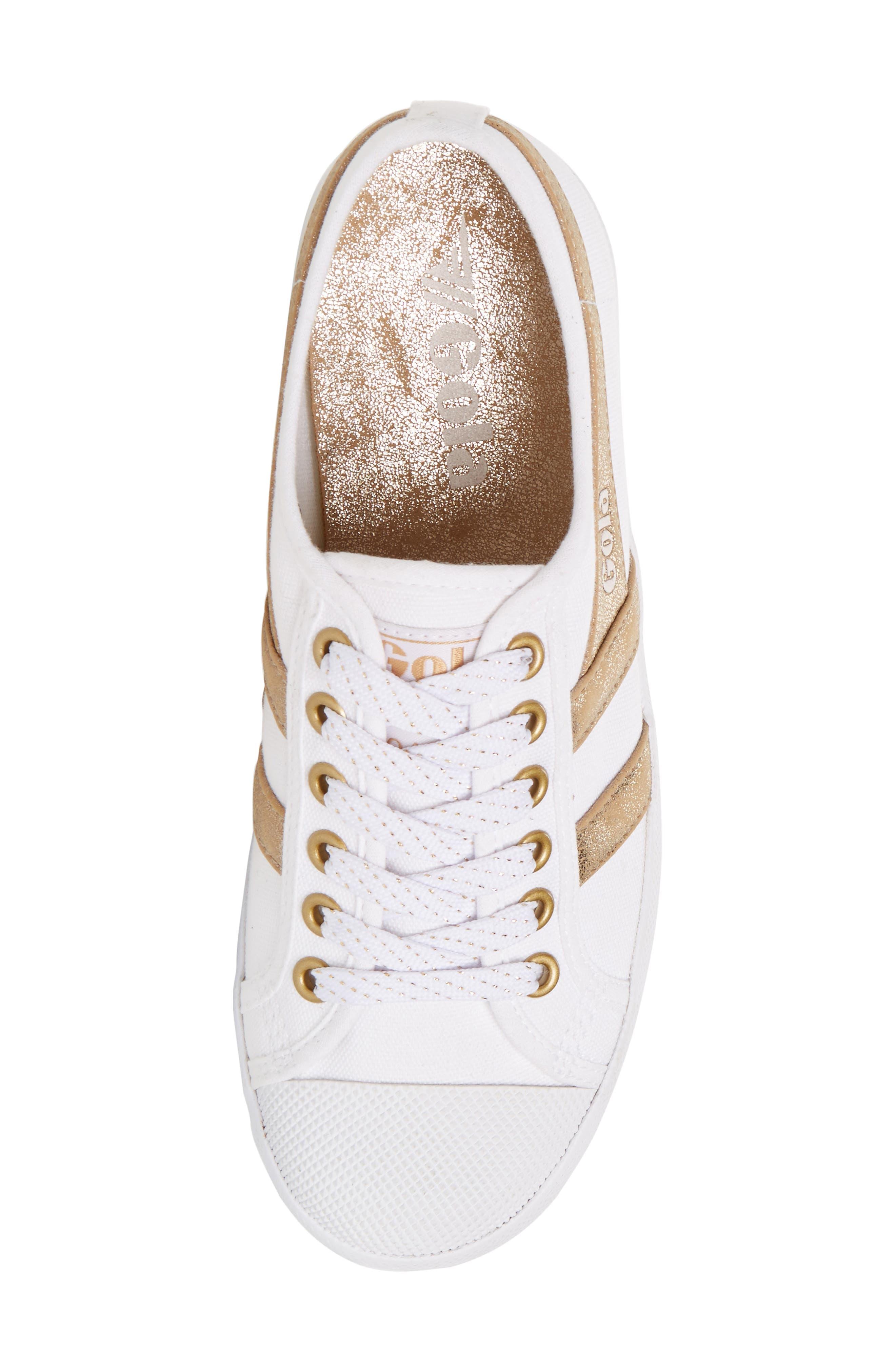 Coaster Mirror Sneaker,                             Alternate thumbnail 5, color,                             White/ Gold