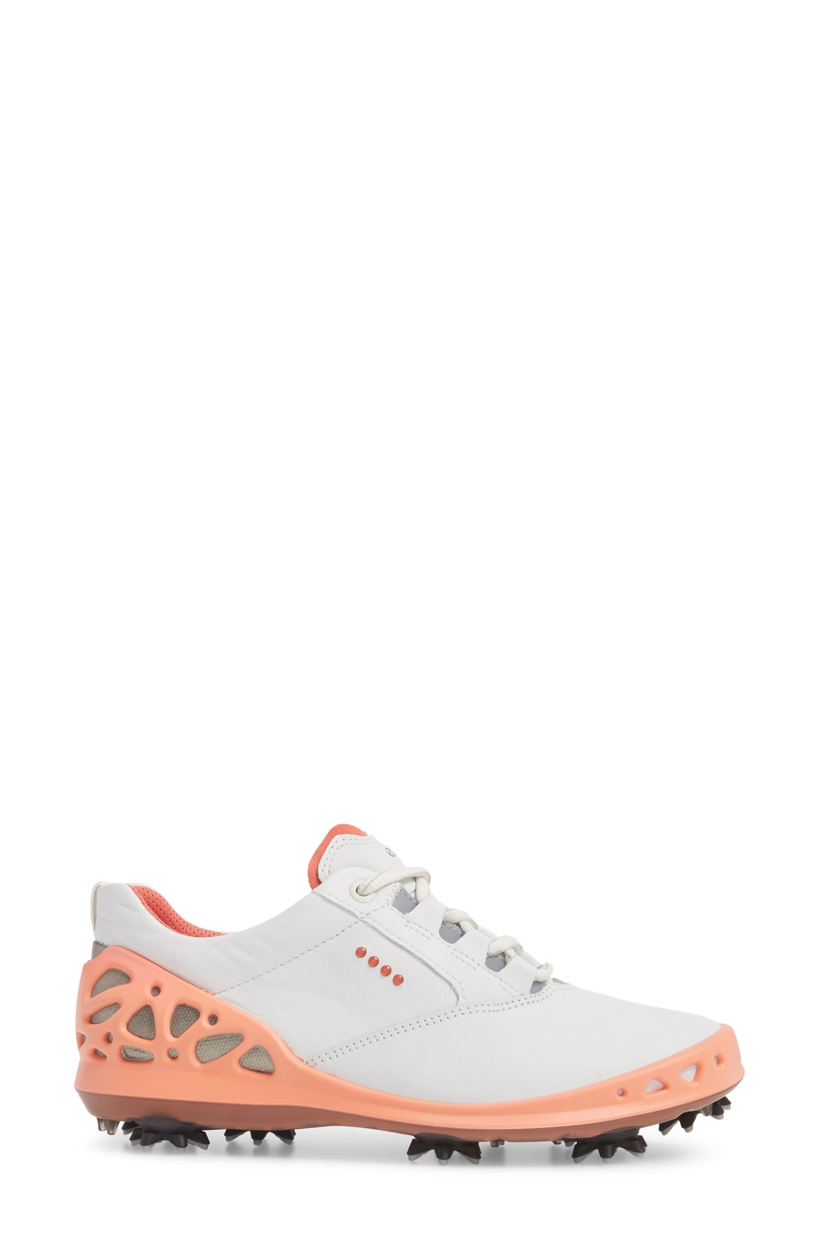Cage Gore-Tex<sup>®</sup> Golf Shoe,                             Alternate thumbnail 3, color,                             White/ Coral Leather