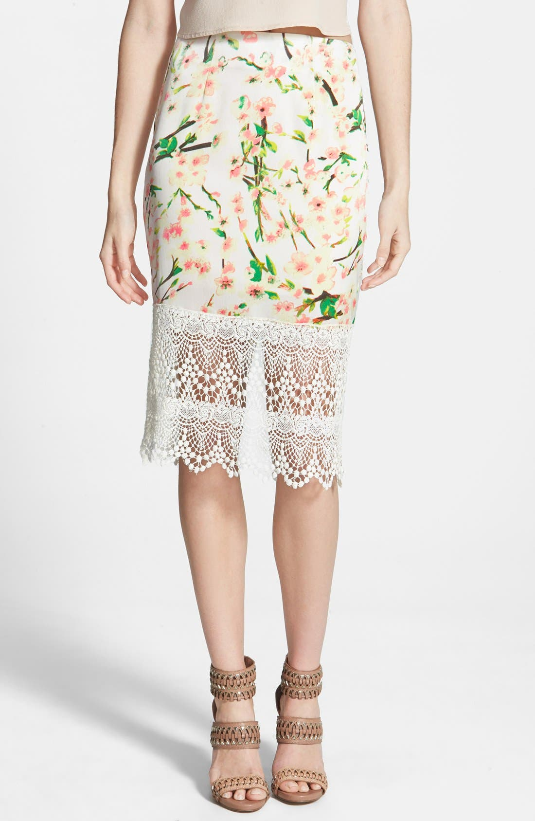 Alternate Image 1 Selected - ASTR Lace Hem Pencil Skirt