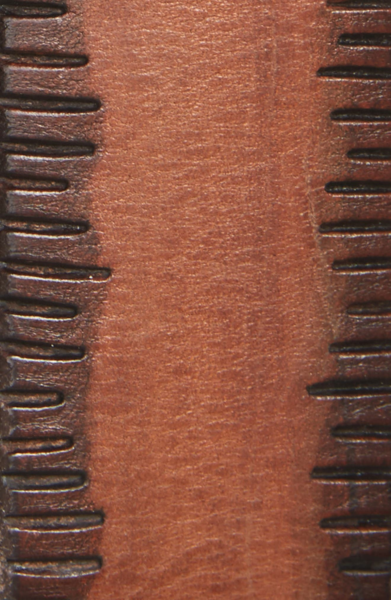 Etched Edge Leather Belt,                             Alternate thumbnail 2, color,                             Wood Brown