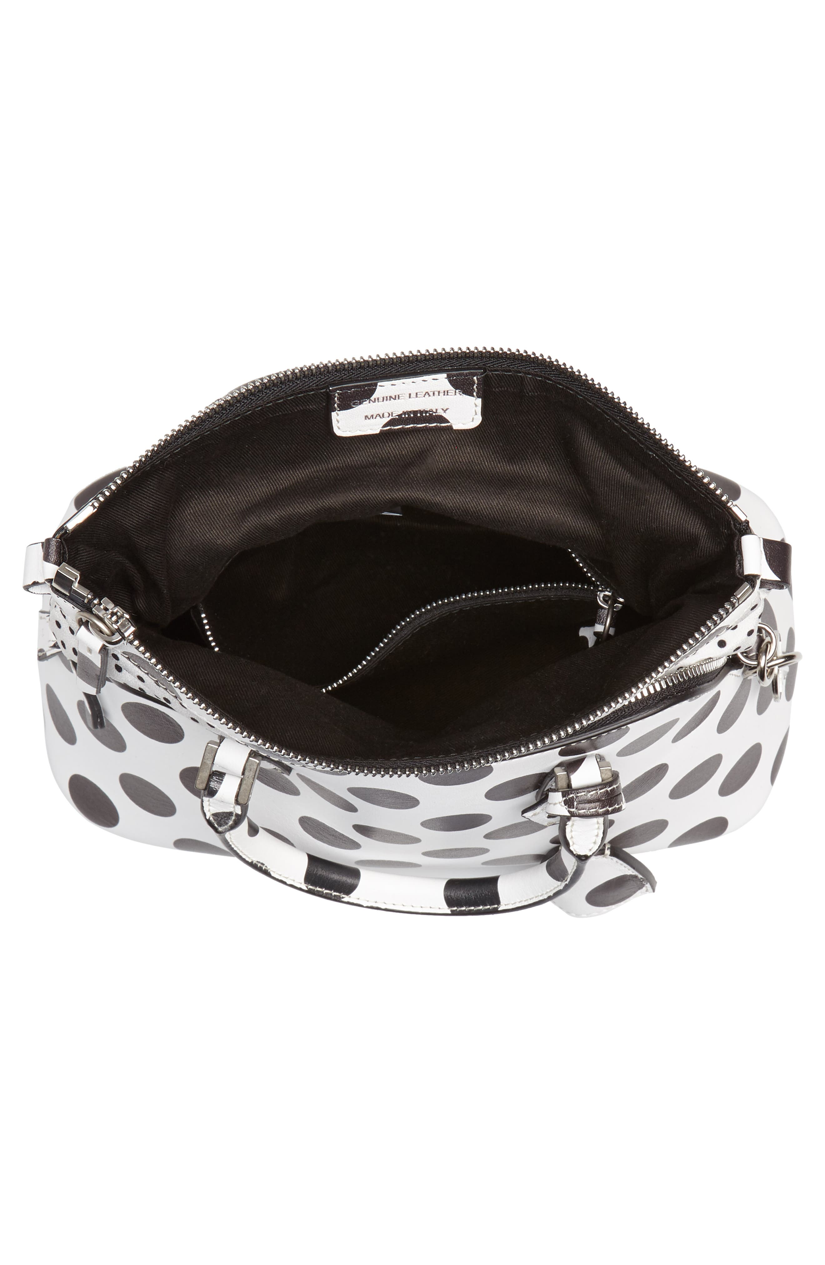 Medium 5AC Leather Handbag,                             Alternate thumbnail 4, color,                             White/ Black