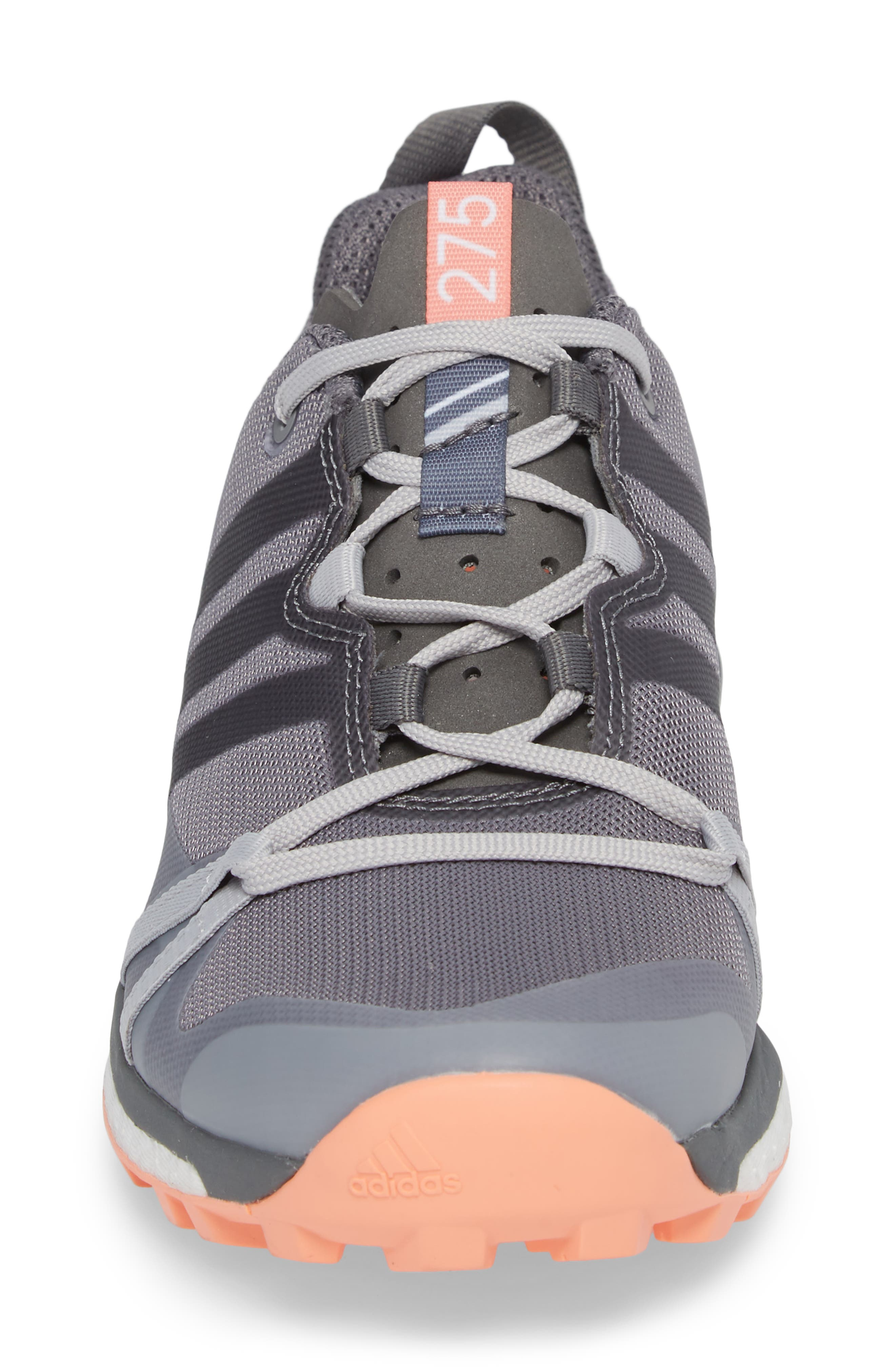 Terrex Agravic Trail Running Shoe,                             Alternate thumbnail 4, color,                             Grey Three/ Grey Four/ Coral