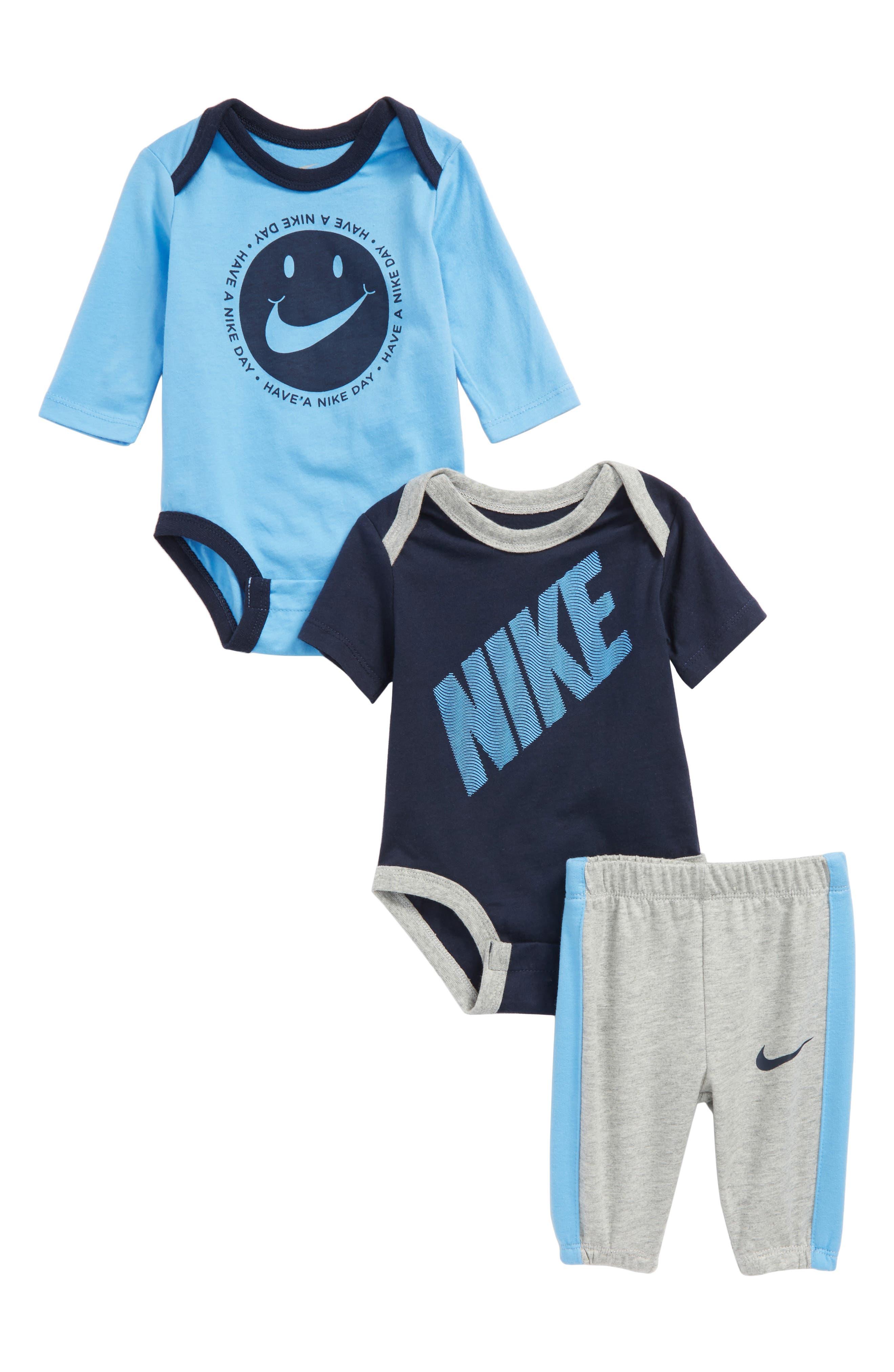Main Image - Nike DNA 3-Piece Bodysuit & Pants Set (Baby Boys)