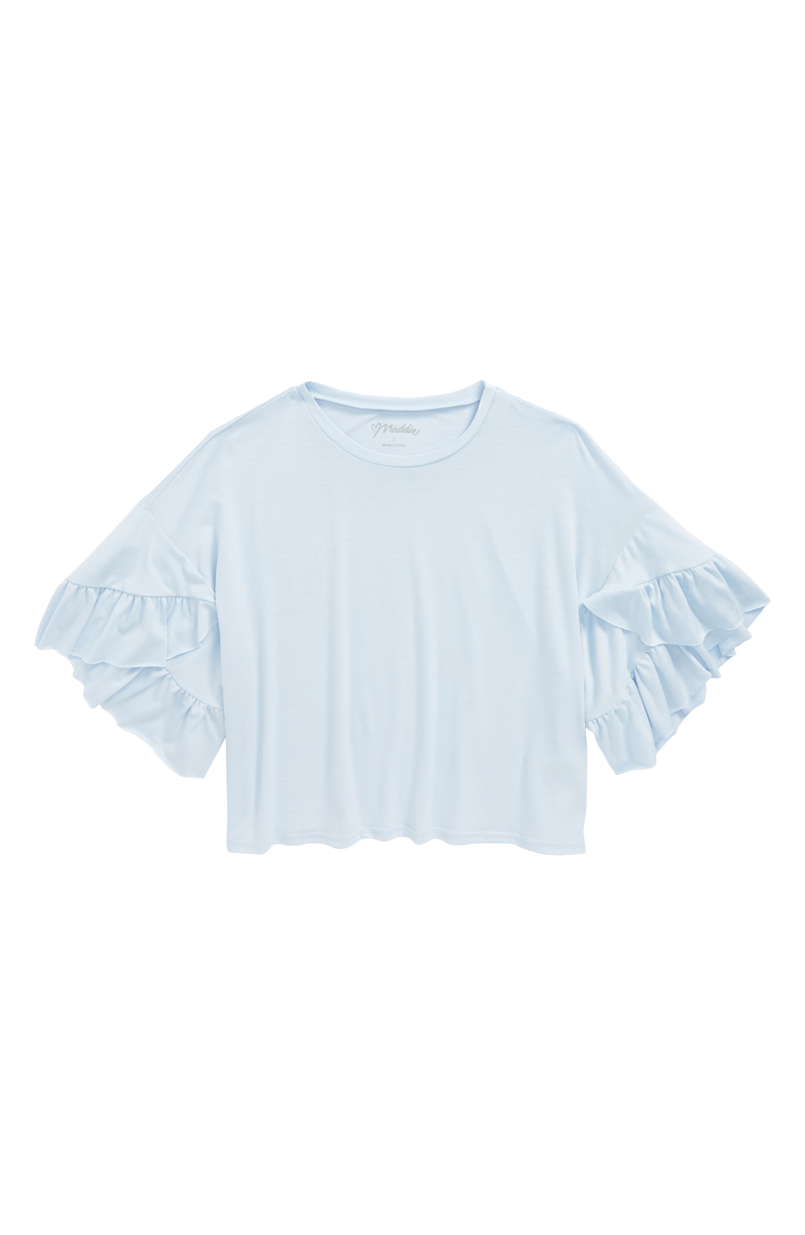 Ruffle Knit Top,                         Main,                         color, Blue