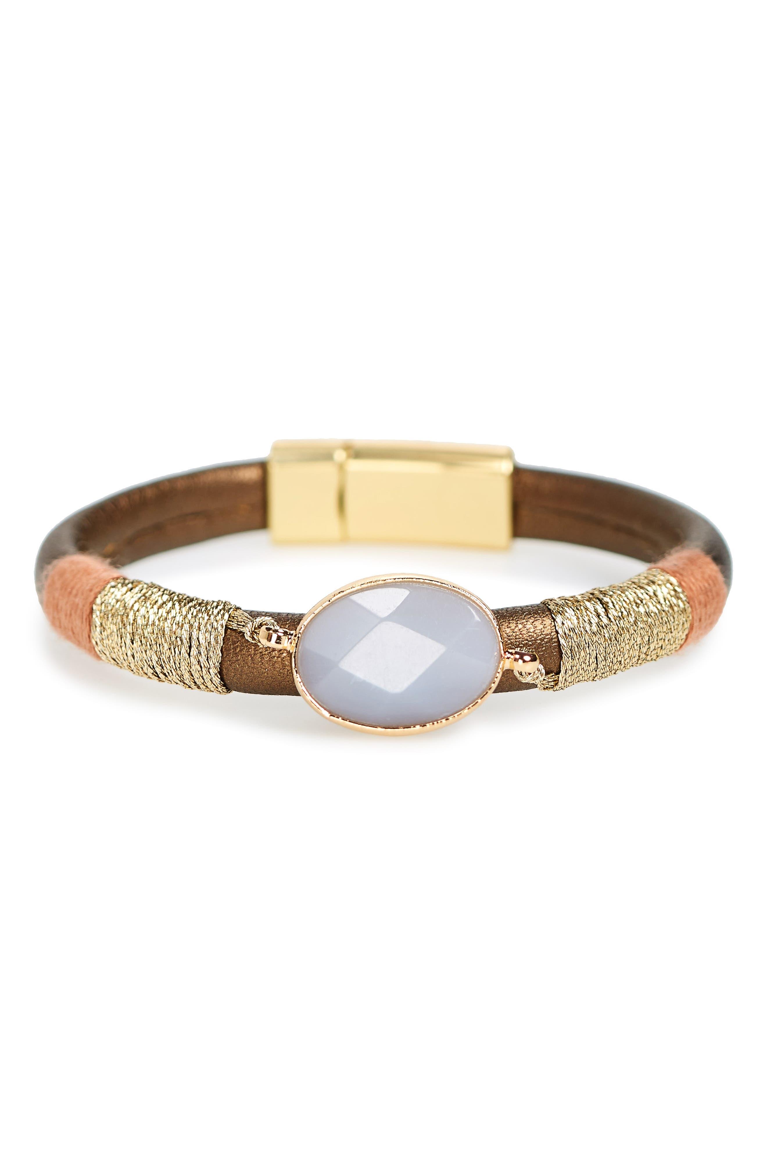 Leather & Agate Bracelet,                         Main,                         color, Grey Multi
