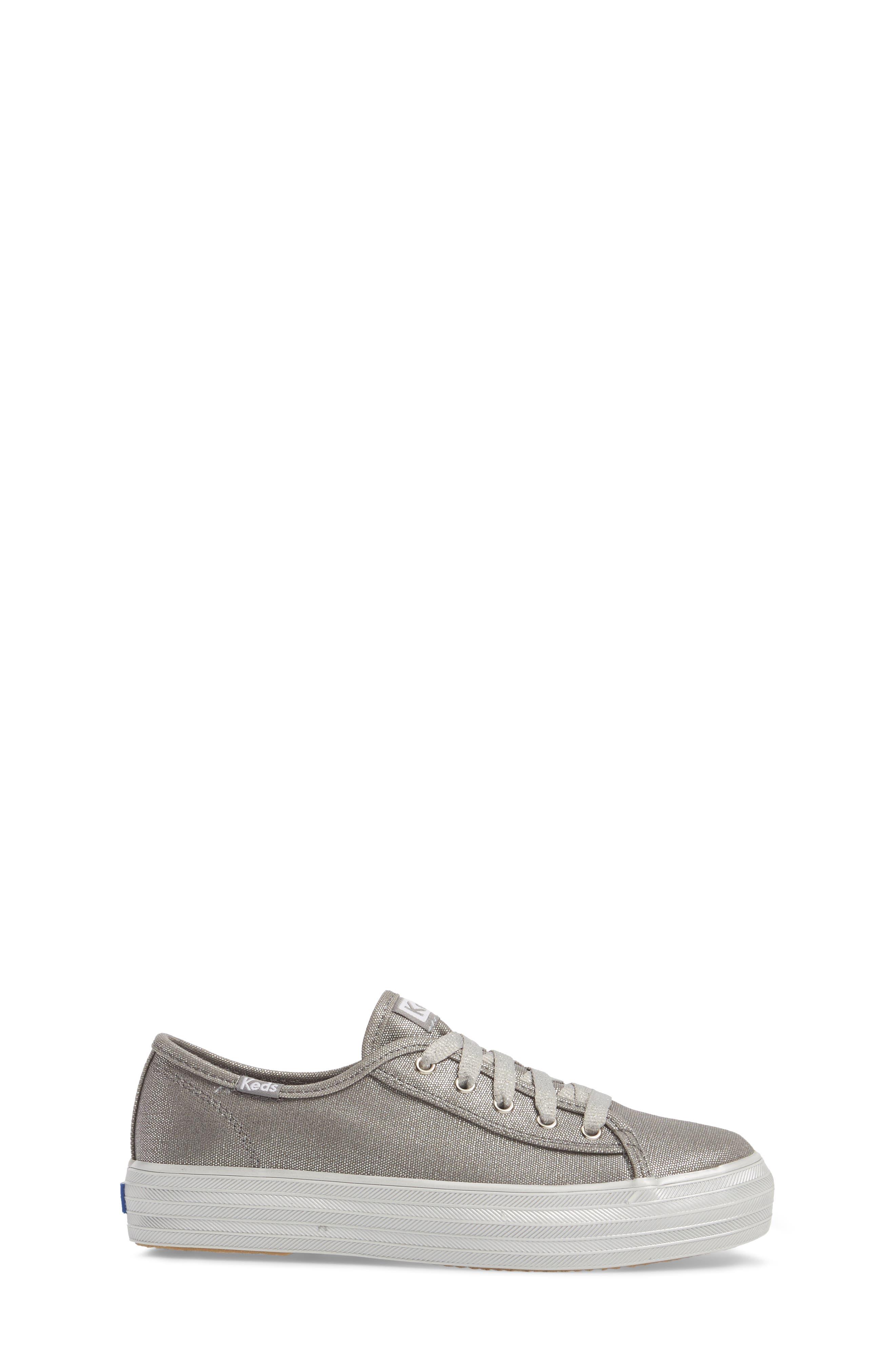 Triple Kick Platform Sneaker,                             Alternate thumbnail 3, color,                             Silver/ Silver