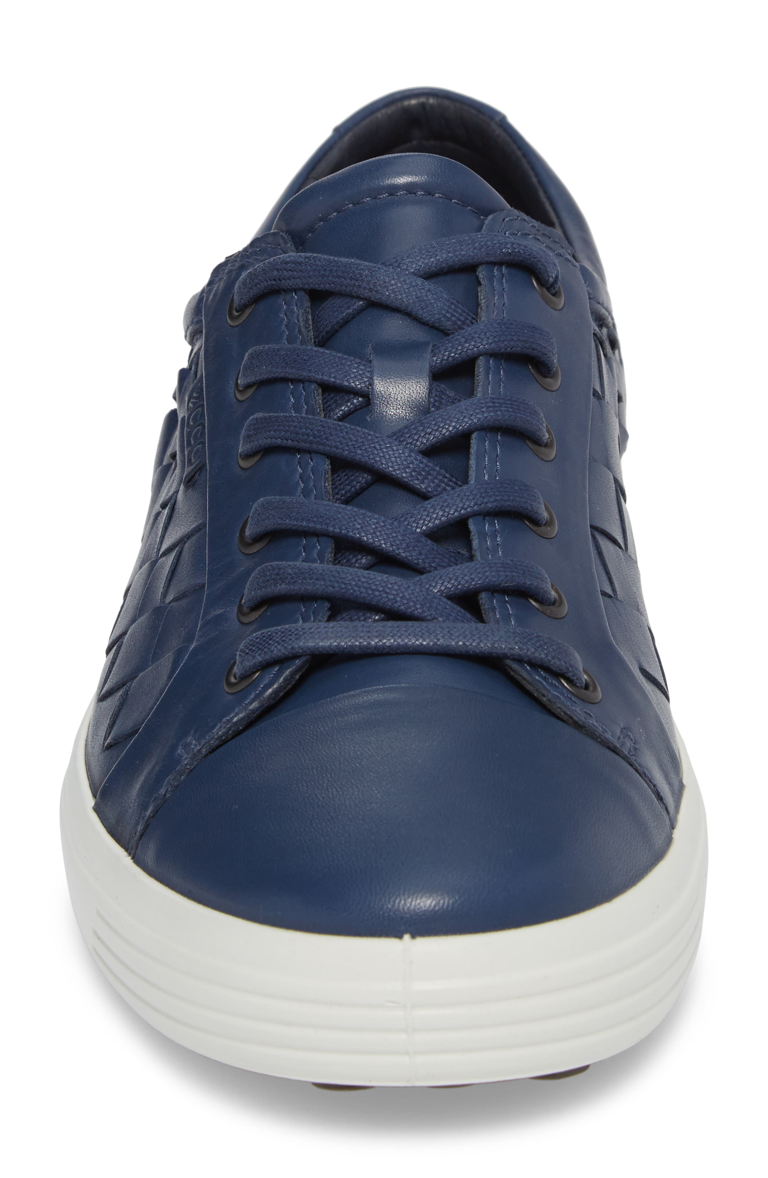 Soft 7 Woven Sneaker,                             Alternate thumbnail 4, color,                             True Navy Leather