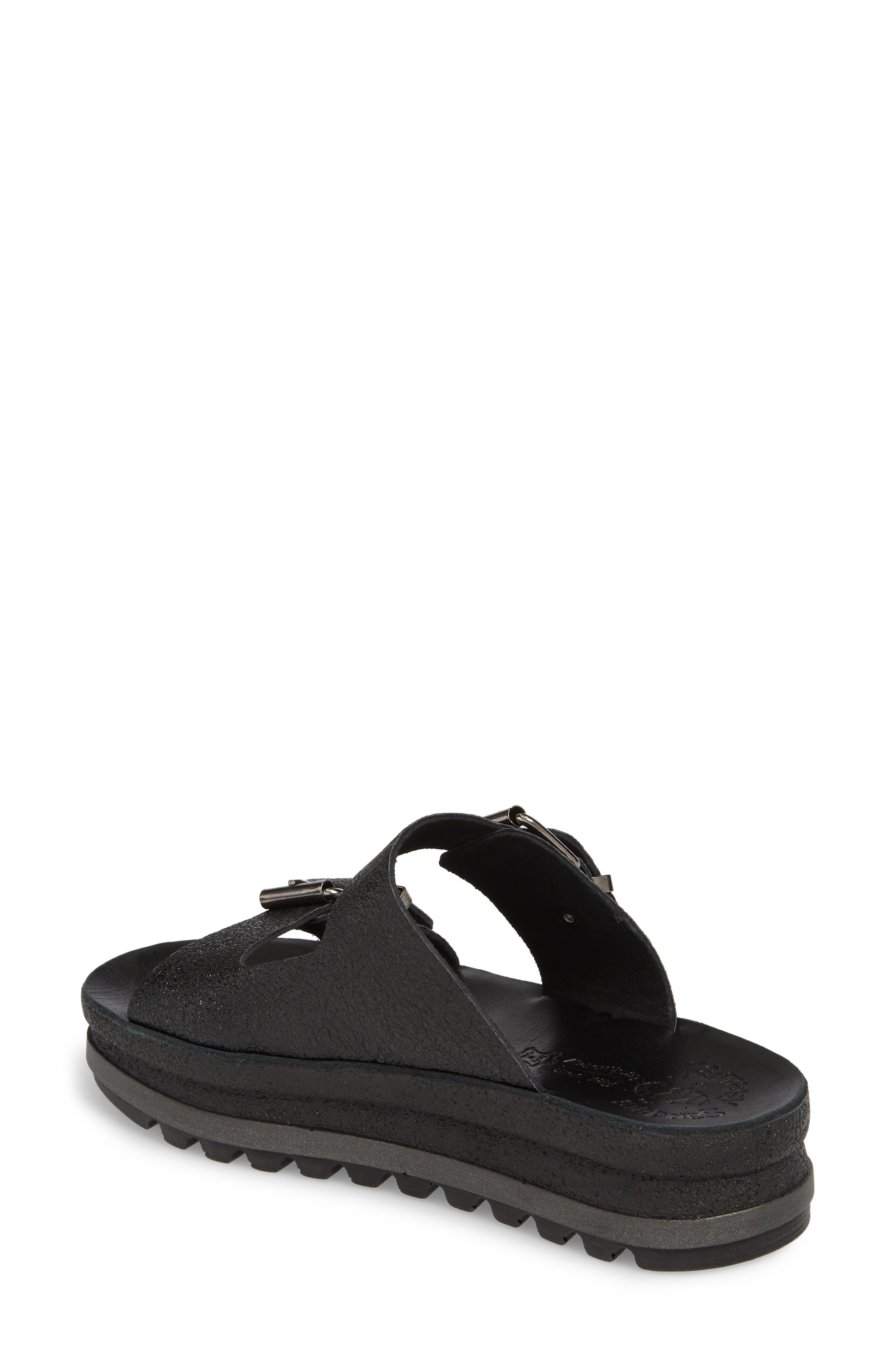 Melanie Platform Sandal,                             Alternate thumbnail 2, color,                             Black Spacey Leather