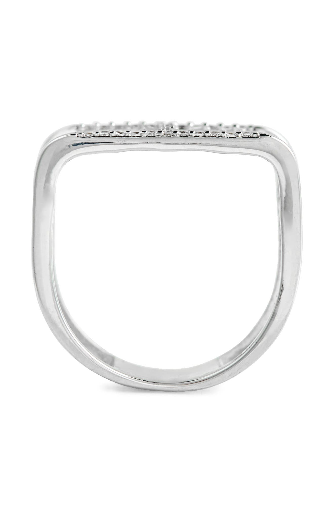 Crystal Double Ring,                             Alternate thumbnail 2, color,                             Silver