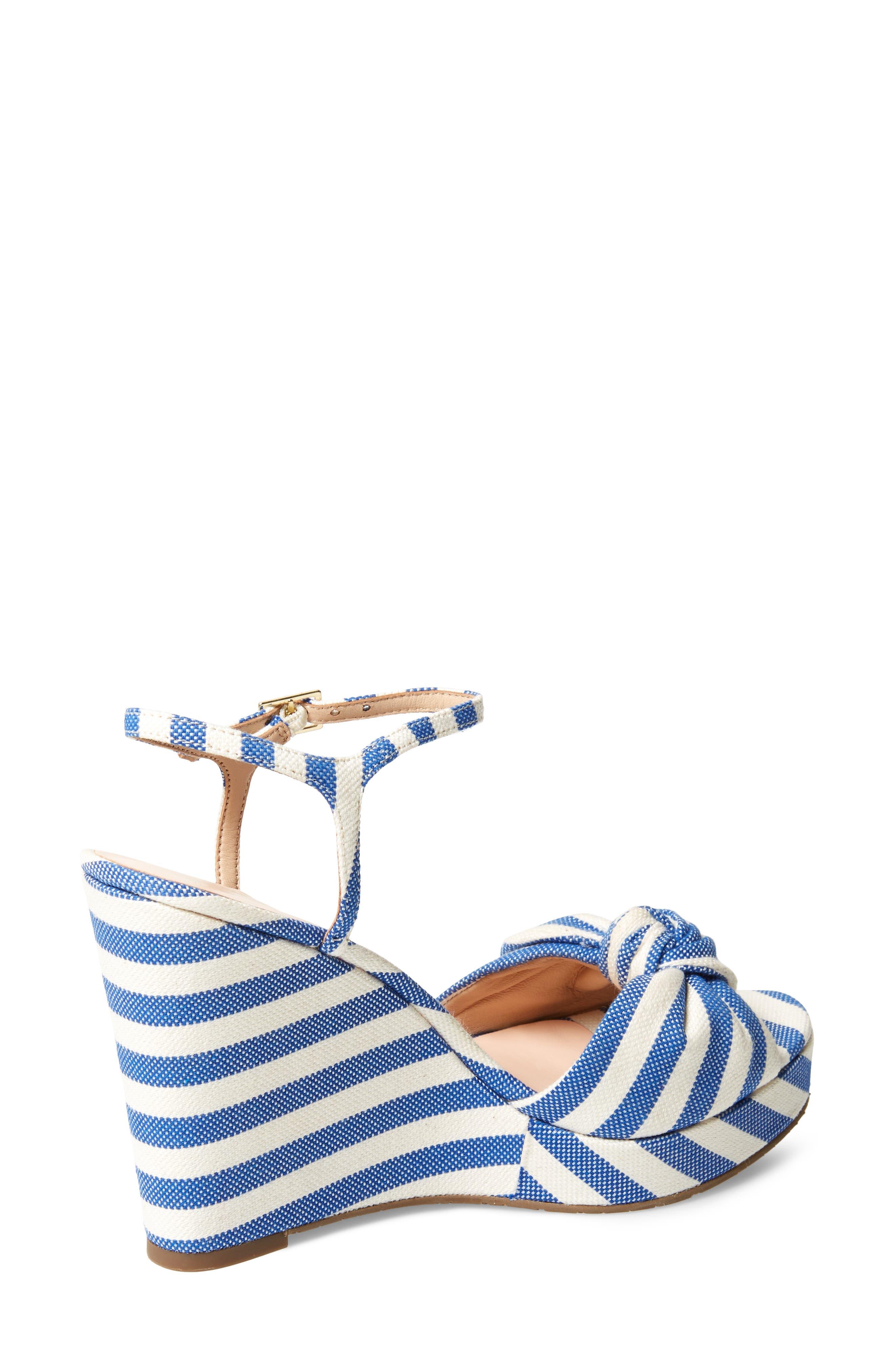 janae knot platform wedge sandal,                             Alternate thumbnail 2, color,                             Blue/Cream Stripe