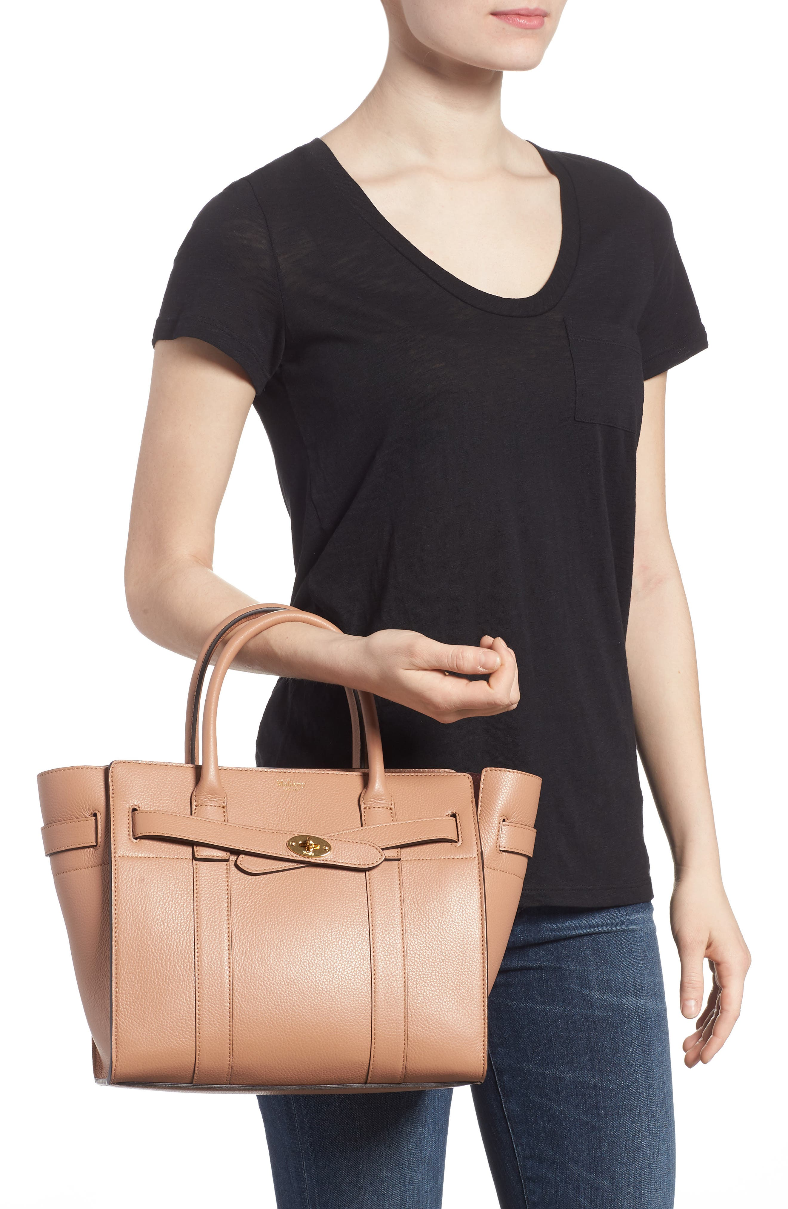 Alternate Image 2  - Mulberry Small Zip Bayswater Classic Leather Tote