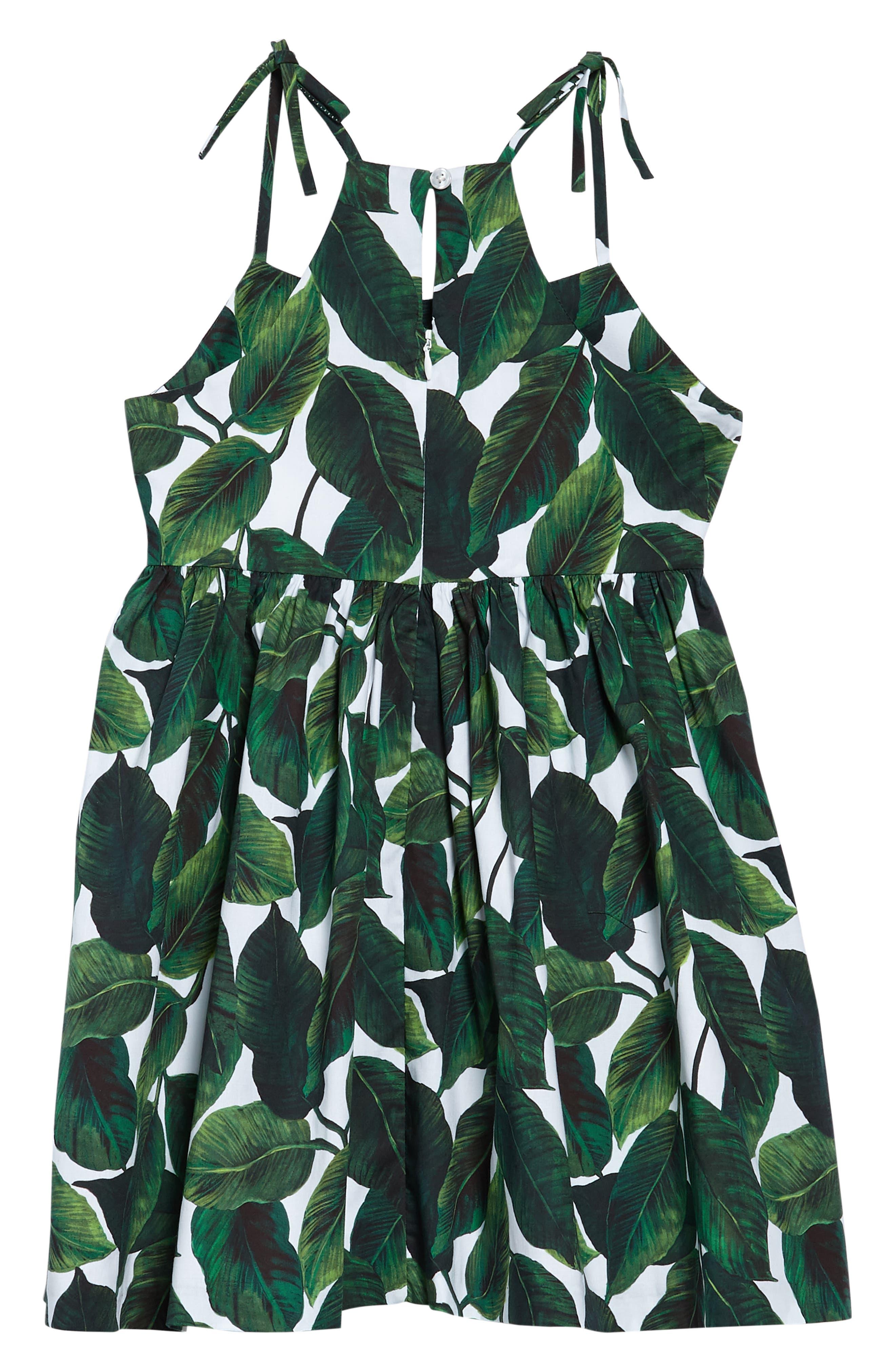 Print Dress,                             Alternate thumbnail 2, color,                             Emerald