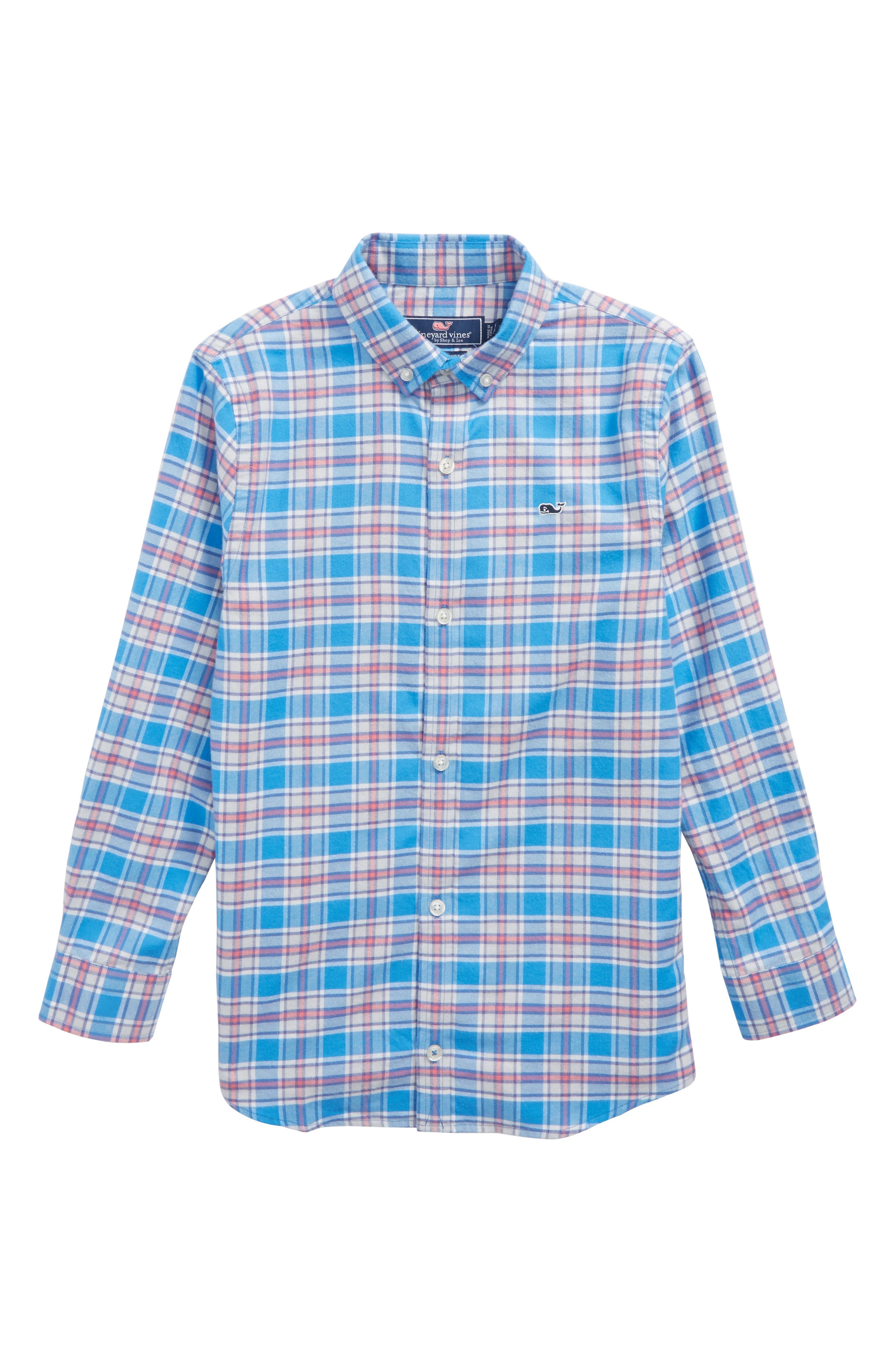 Sandy Point Plaid Whale Flannel Shirt,                             Main thumbnail 1, color,                             Hull Blue