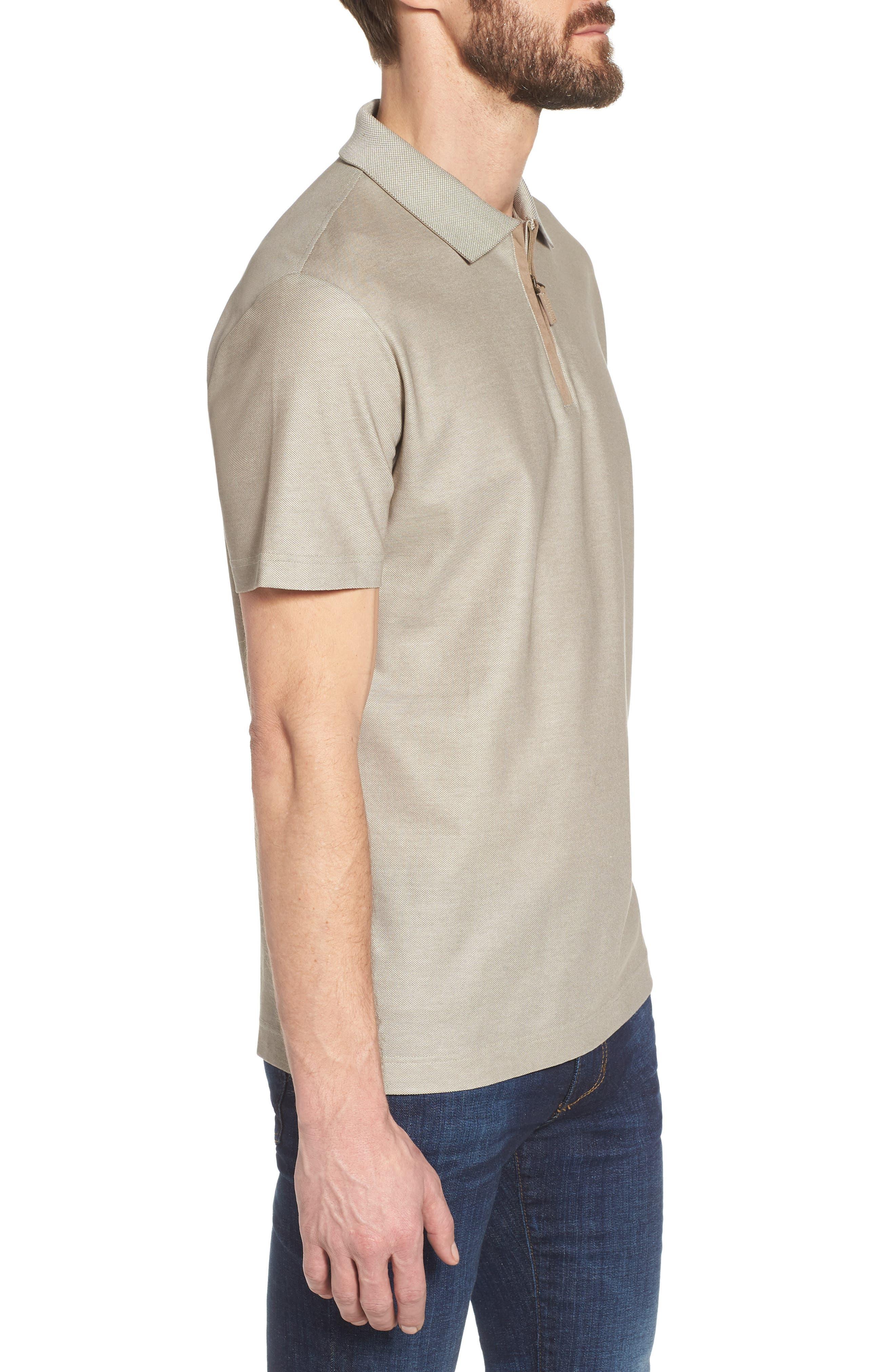 Cotton Polo Shirt,                             Alternate thumbnail 3, color,                             Tan