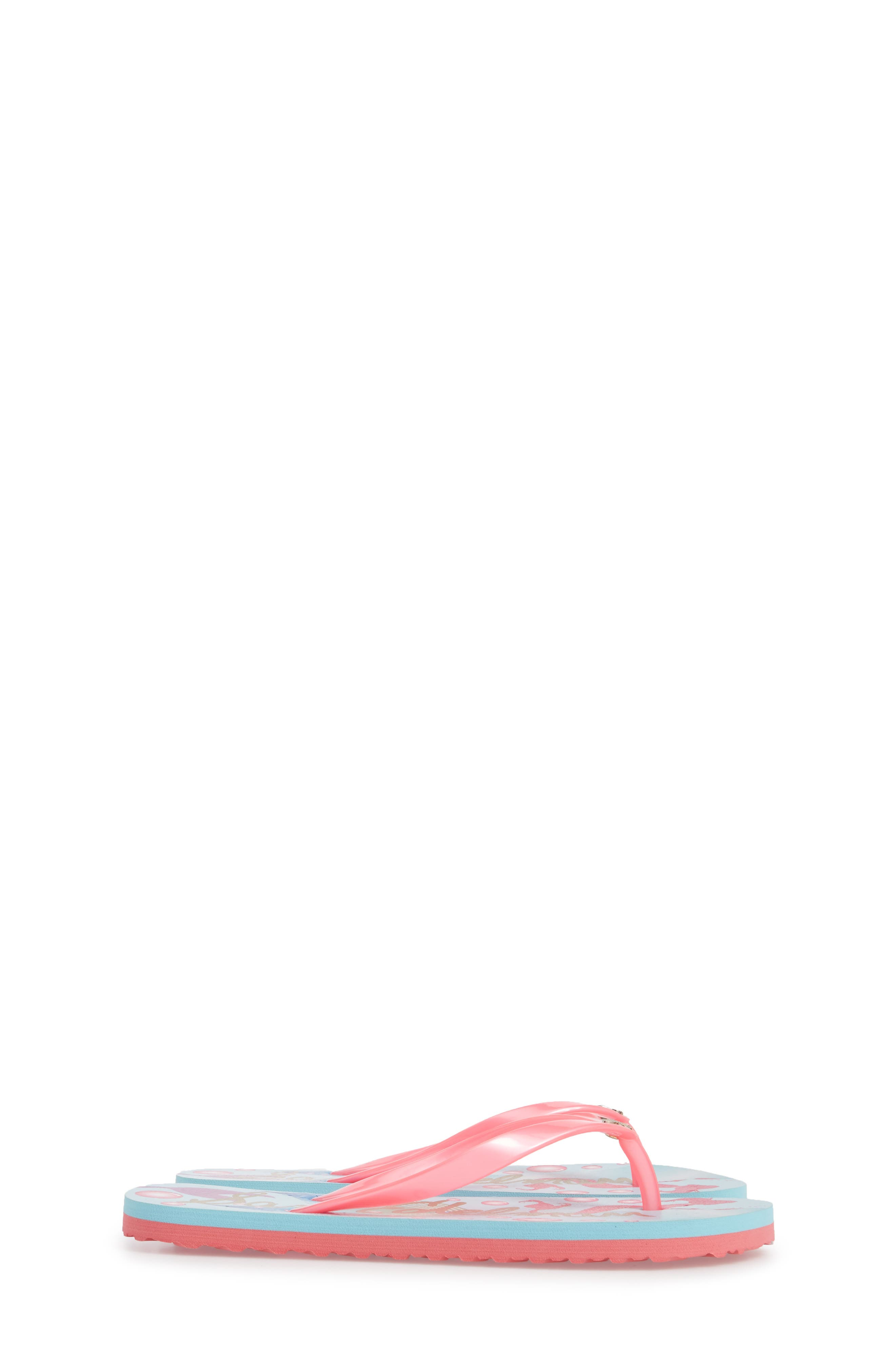 Mandy Flip Flop,                             Alternate thumbnail 4, color,                             Mermaid Turquoise/ Pink
