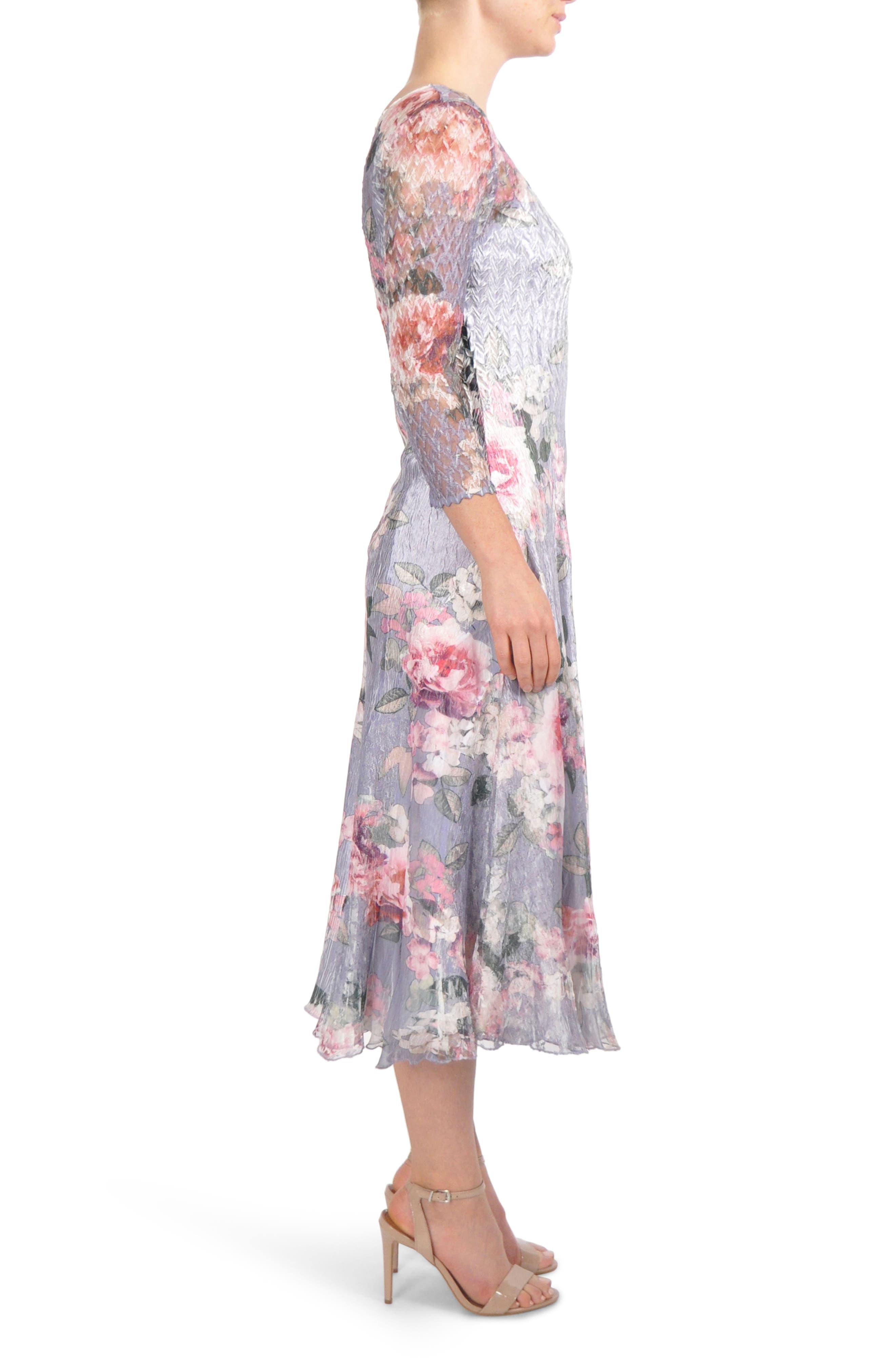 Charmeuse Midi Dress,                             Alternate thumbnail 3, color,                             Wisteria Lane