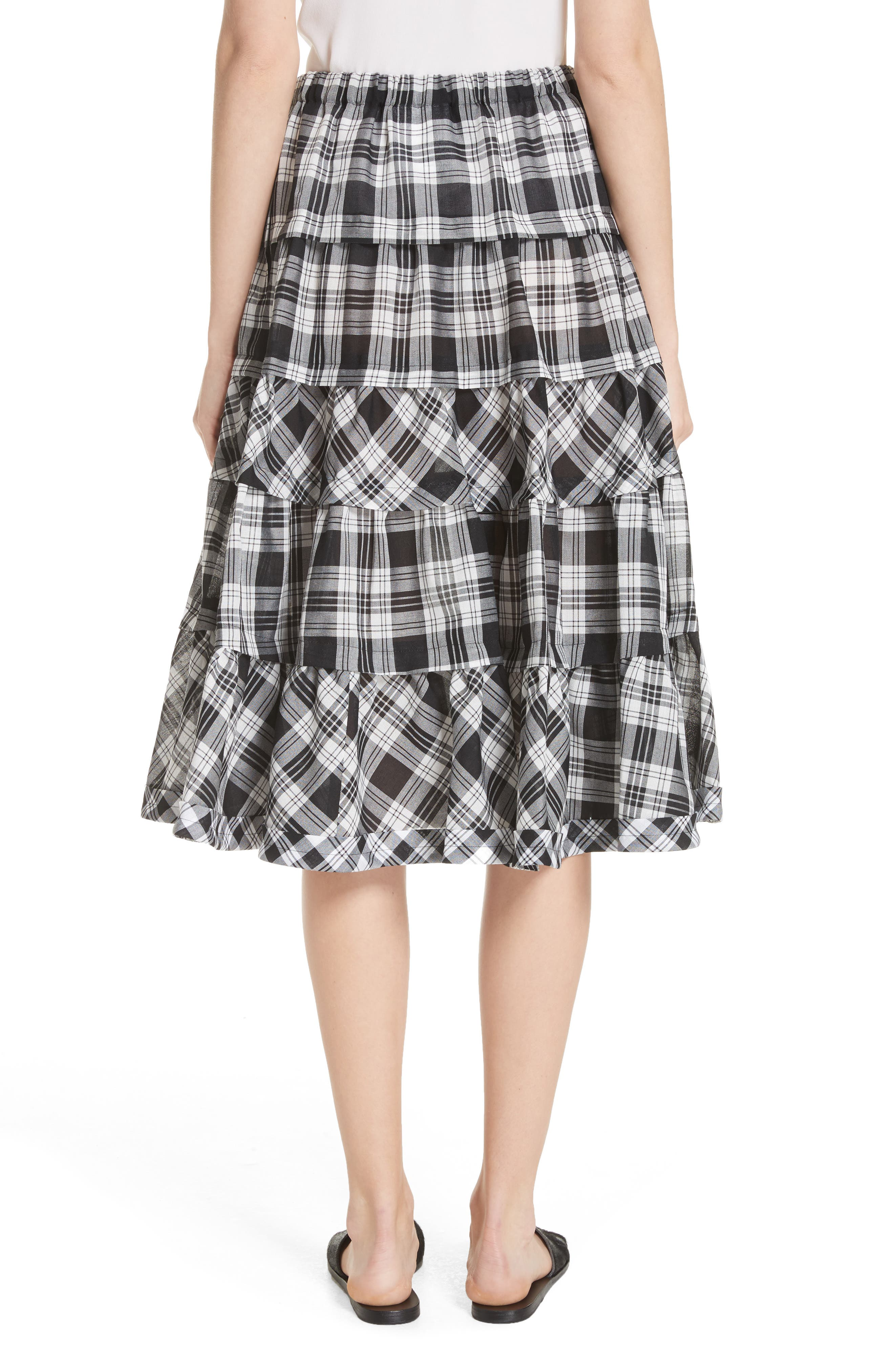 Tiered Plaid Skirt,                             Alternate thumbnail 2, color,                             Largexsmall
