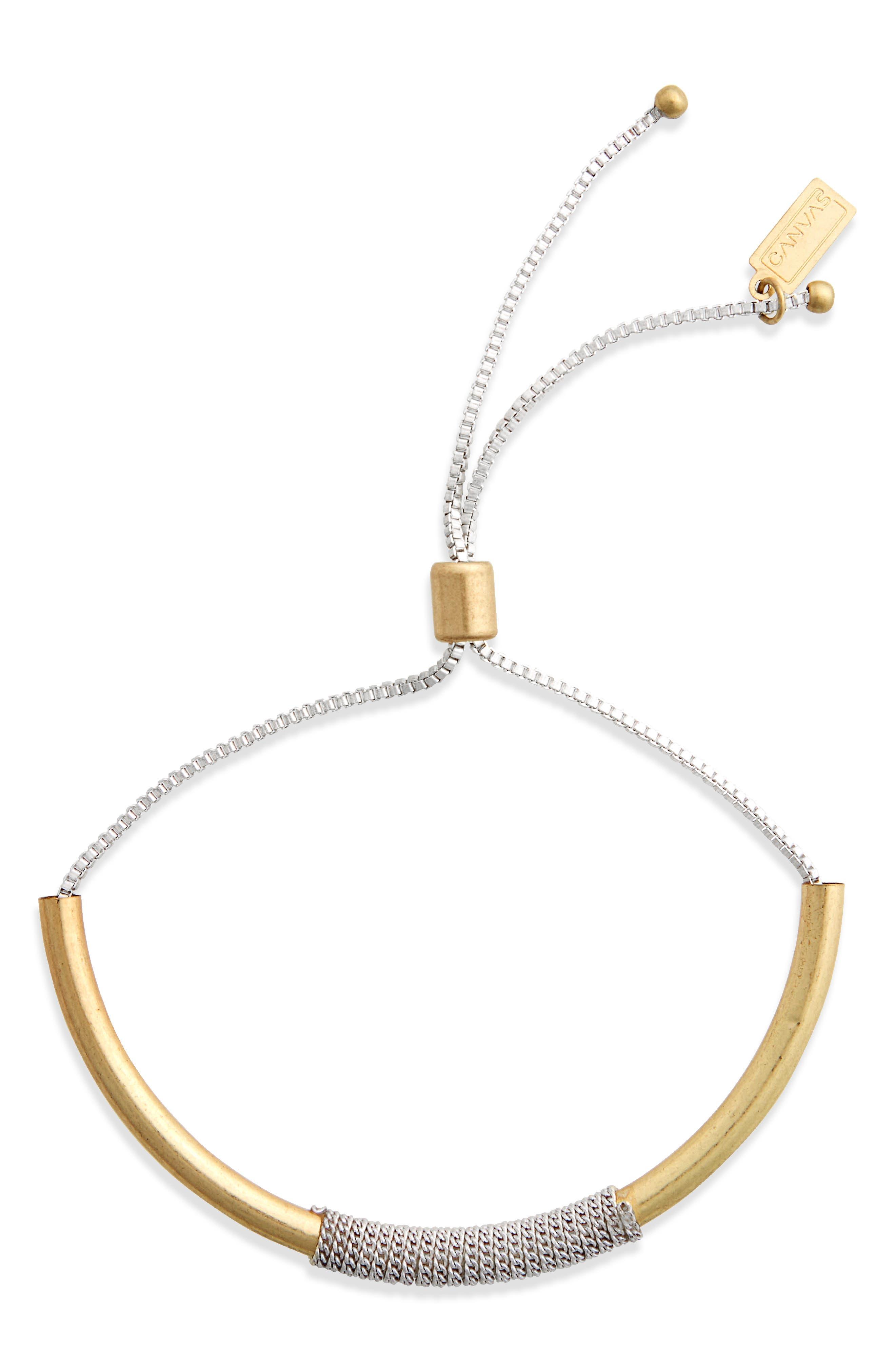 Chain & Metal Bar Bolo Bracelet,                             Main thumbnail 1, color,                             Two Tone