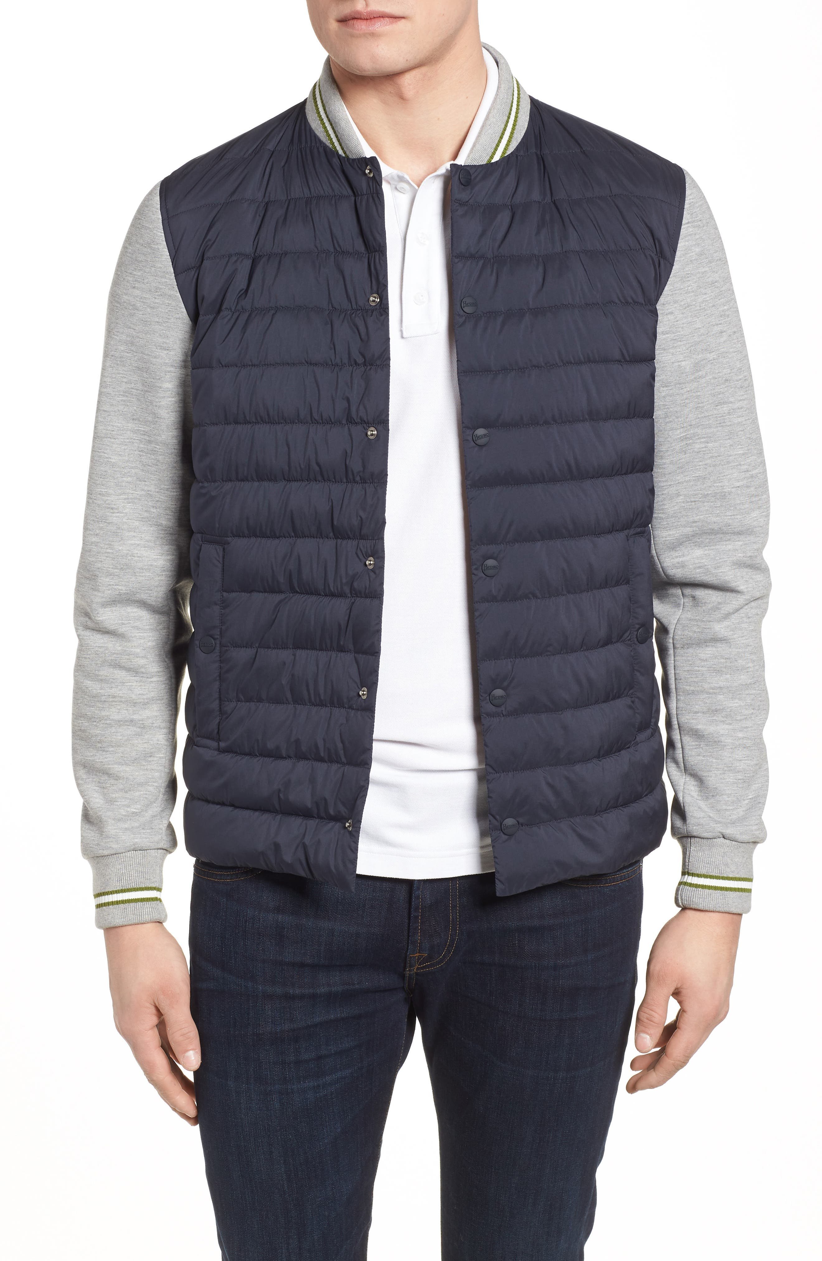 Quilted Baseball Jacket,                         Main,                         color, Navy