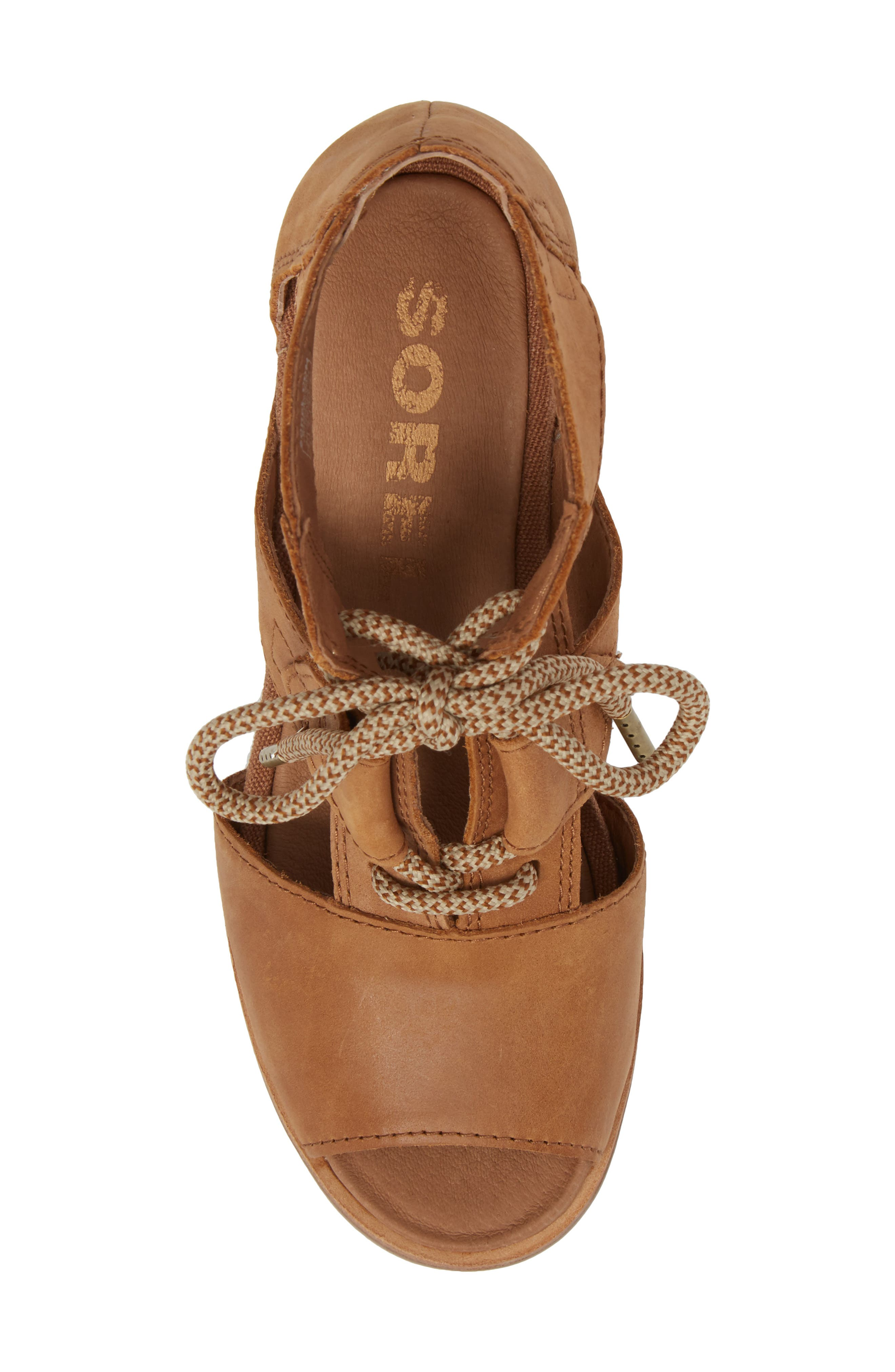 'Joanie' Cage Sandal,                             Alternate thumbnail 4, color,                             Camel Brown