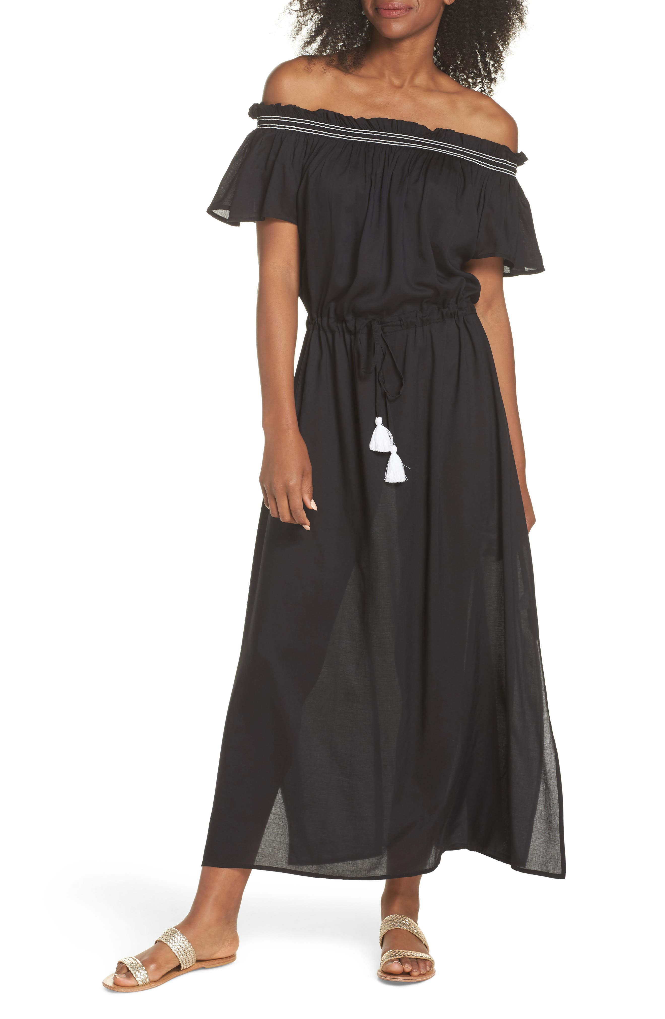 Off the Shoulder Cover-Up Dress,                             Main thumbnail 1, color,                             Black