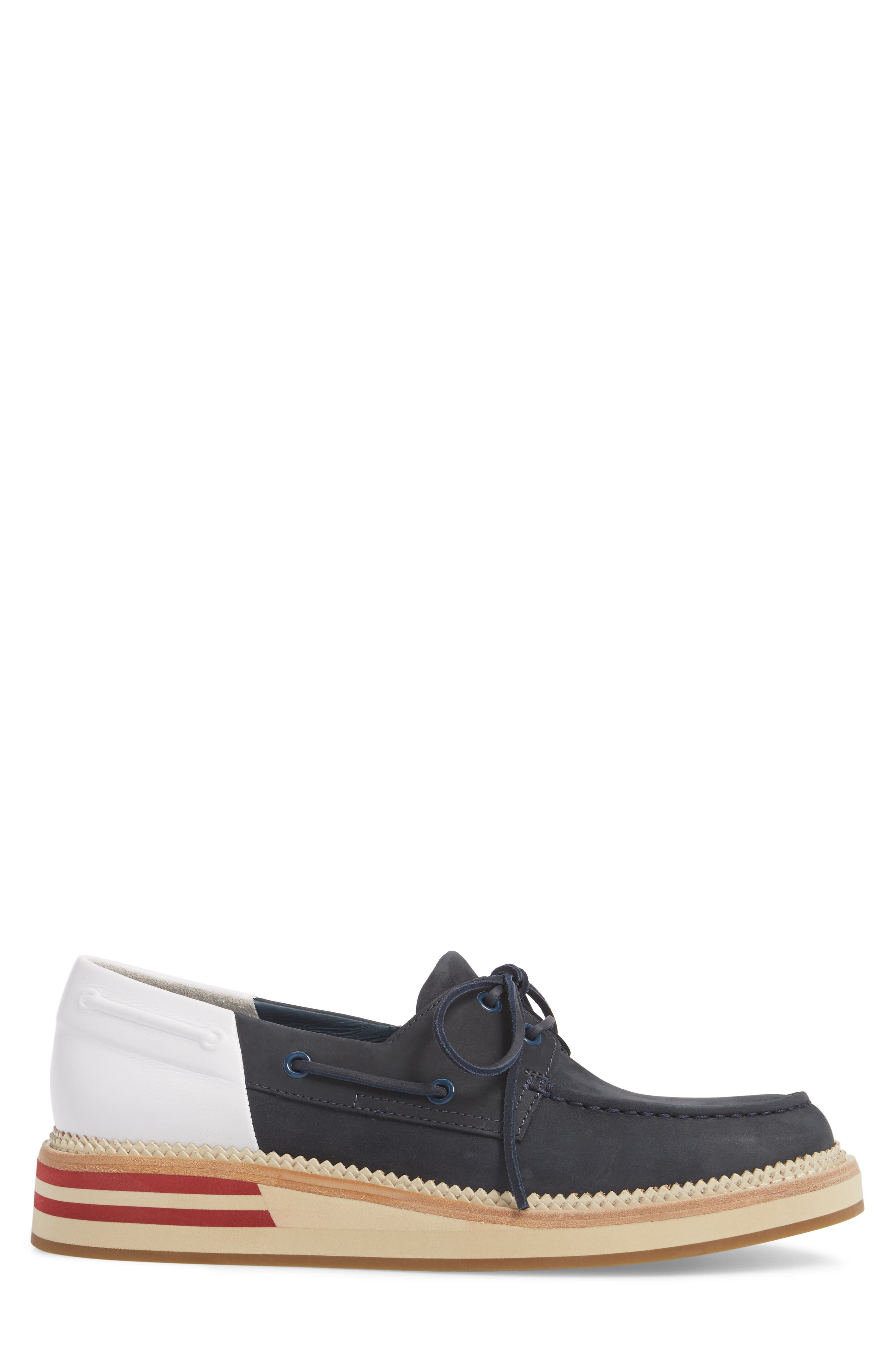 Cloud Colorblocked Boat Shoe,                             Alternate thumbnail 3, color,                             Navy/ White