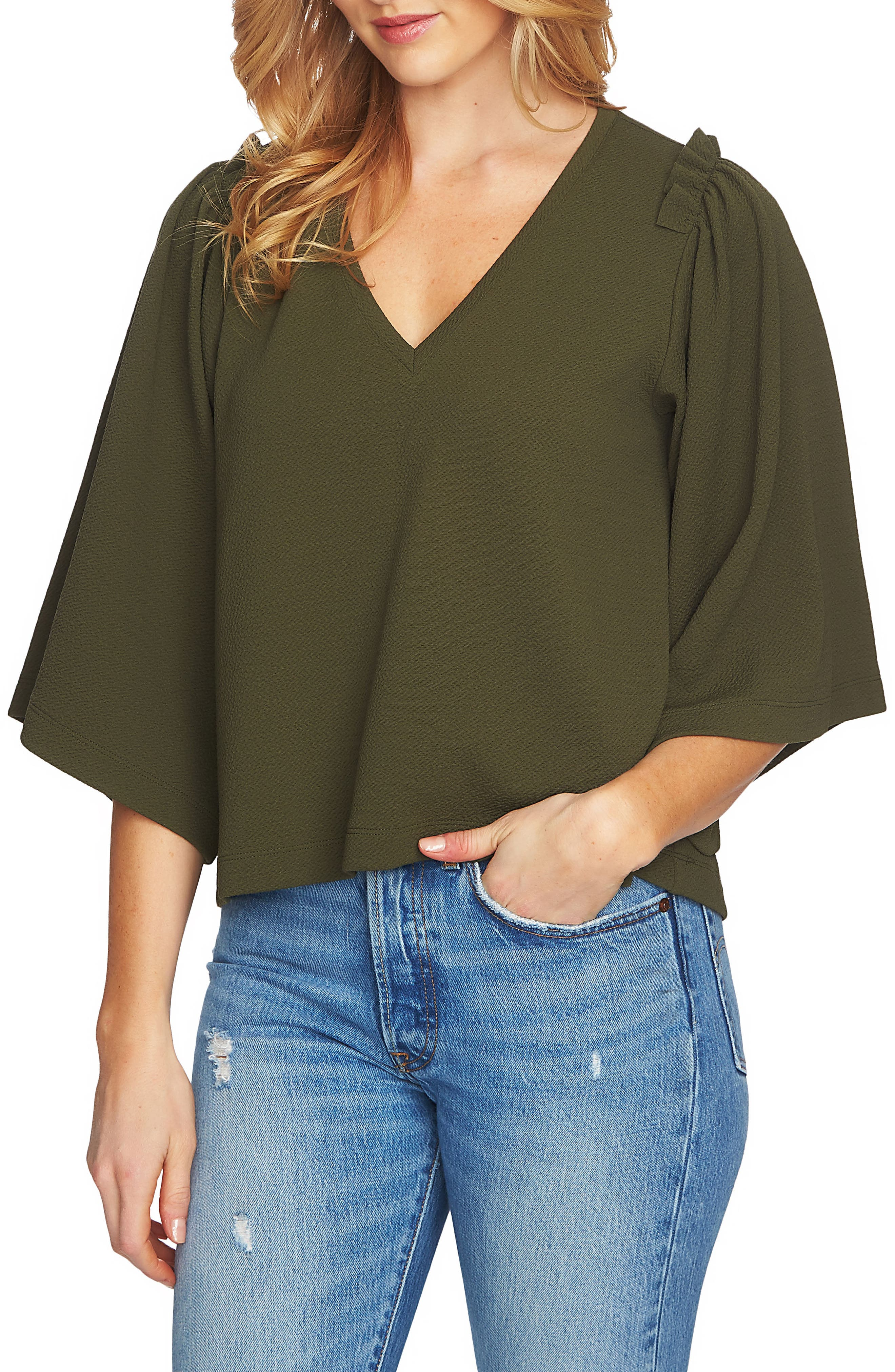 V-Neck Bell Sleeve Top,                             Main thumbnail 1, color,                             311-Olive Tree