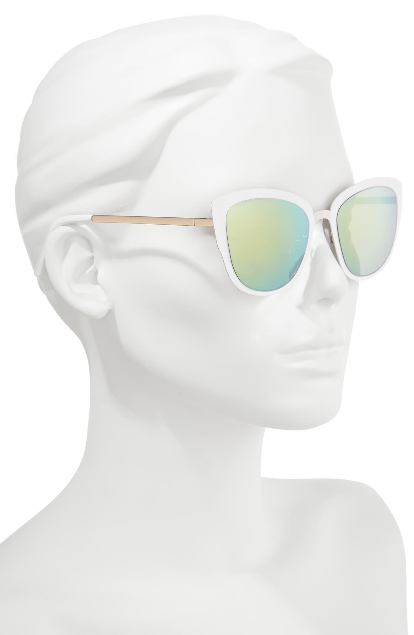 59mm Cat Eye Sunglasses,                             Alternate thumbnail 2, color,                             Gold/ White