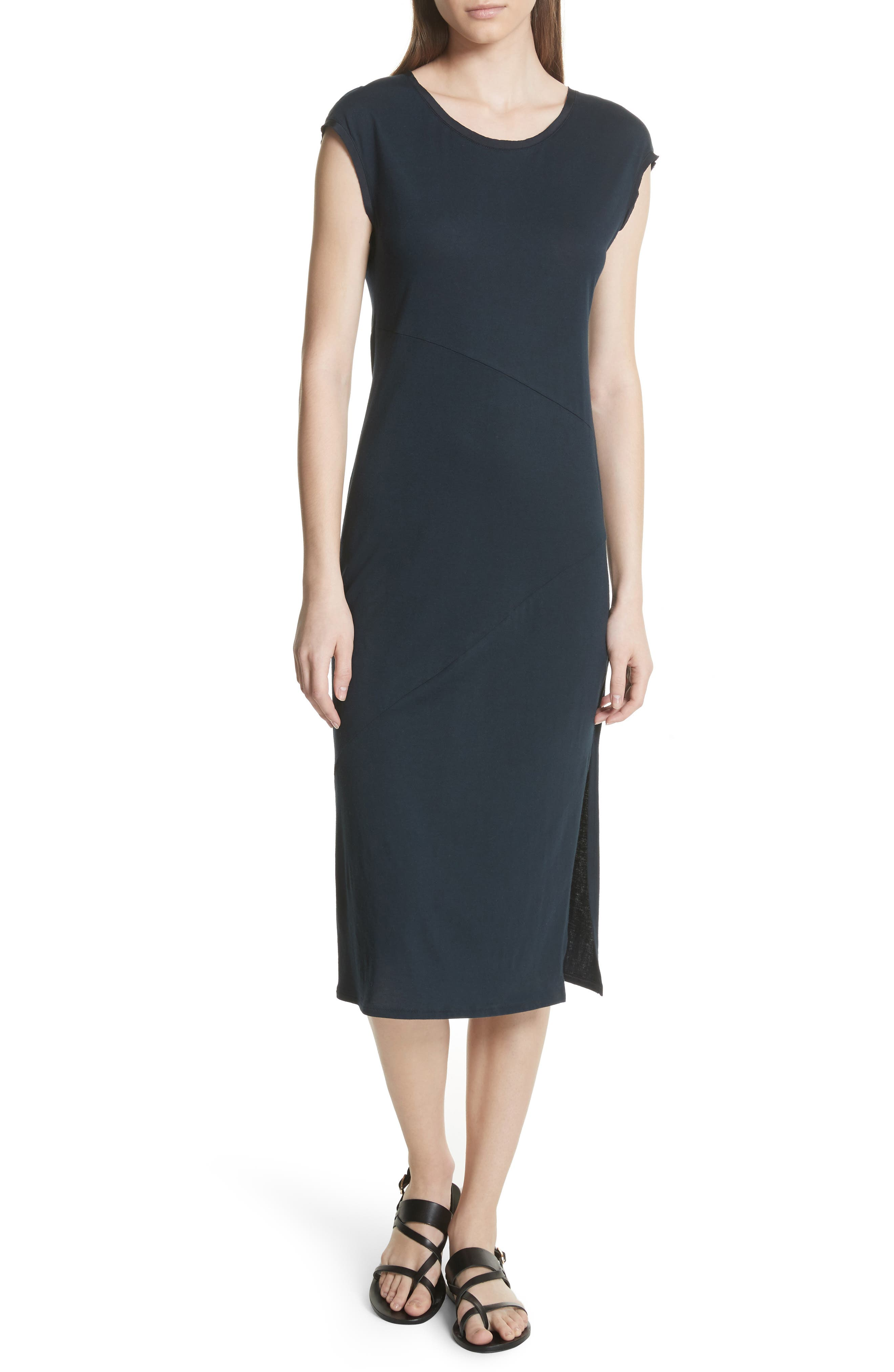 Plume Seamed Cotton Blend Jersey Dress,                             Main thumbnail 1, color,                             Deep Navy