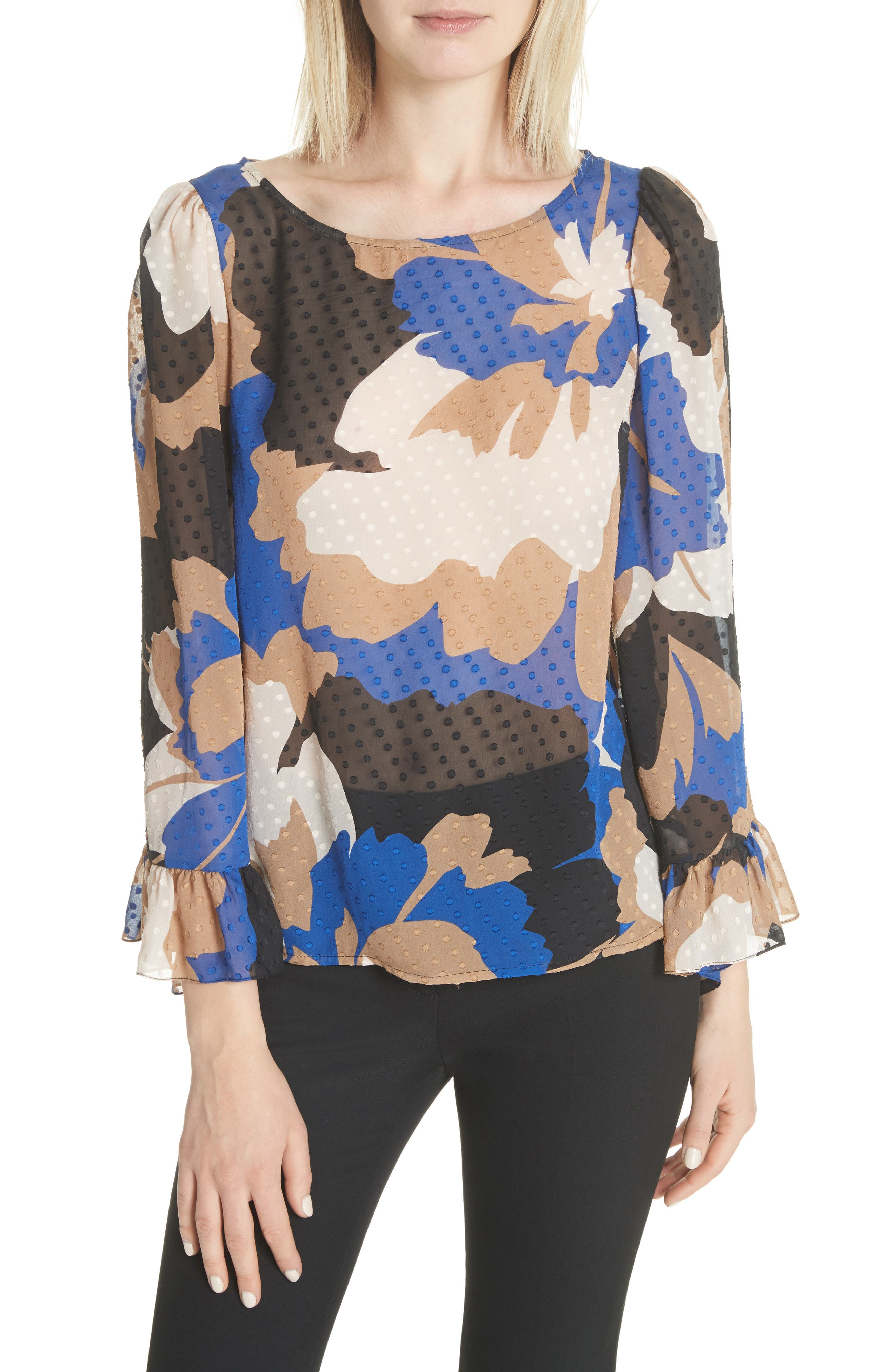 Flounced Silk Top,                         Main,                         color, Neutral Floral