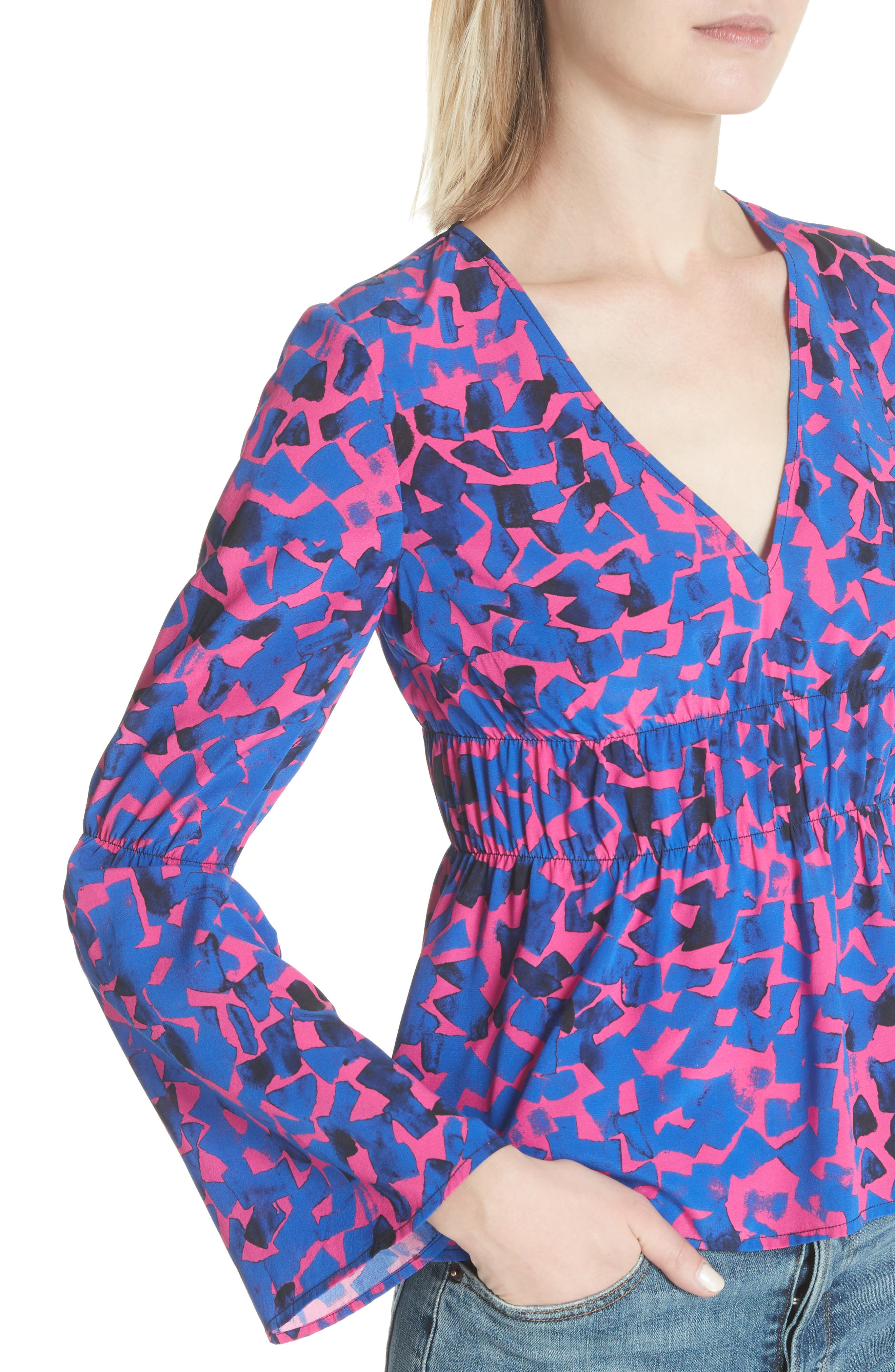 Ruched Stretch Silk Blouse,                             Alternate thumbnail 4, color,                             Cobalt Confetti