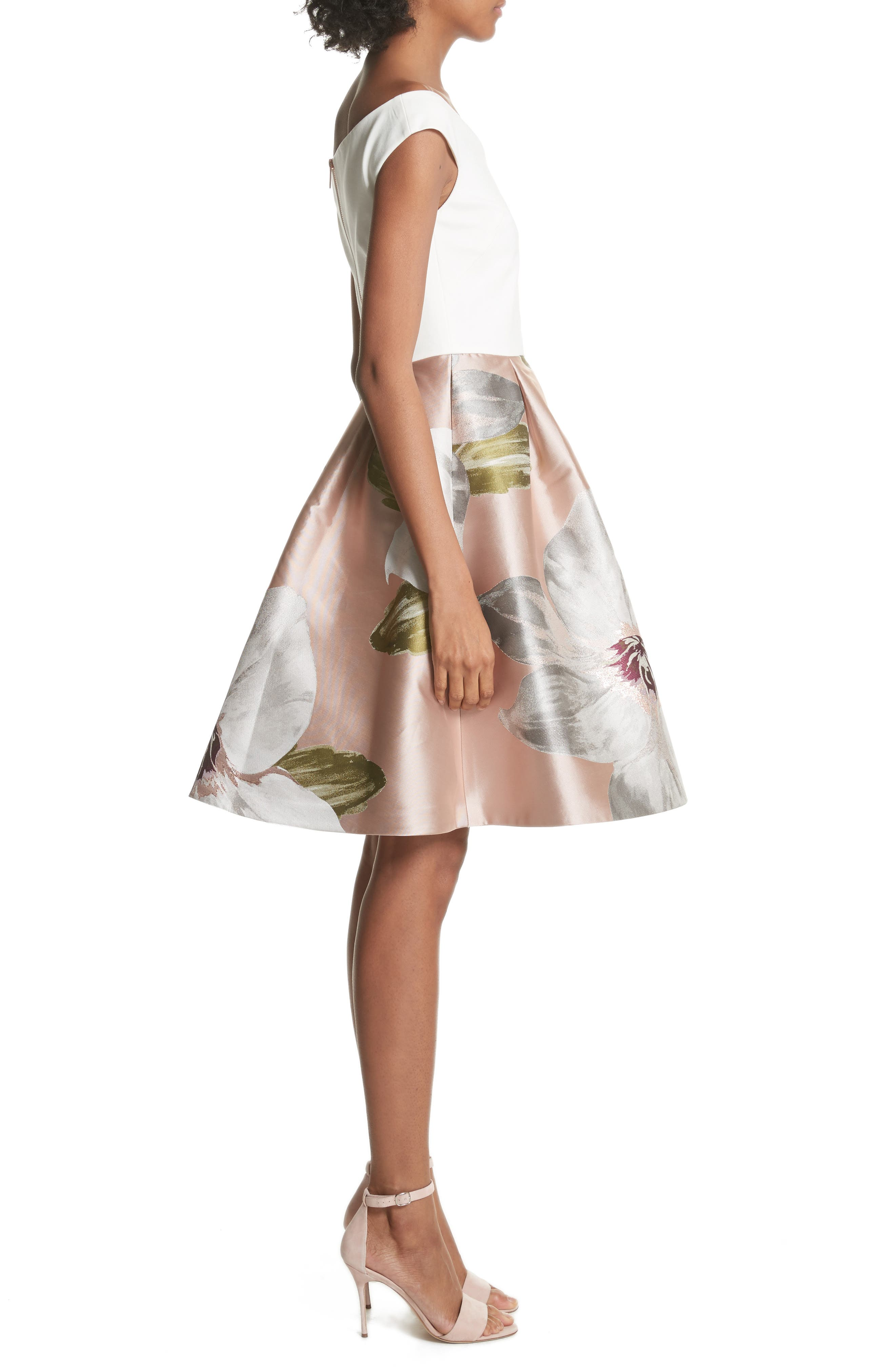 Chatsworth Fit & Flare Dress,                             Alternate thumbnail 3, color,                             Natural