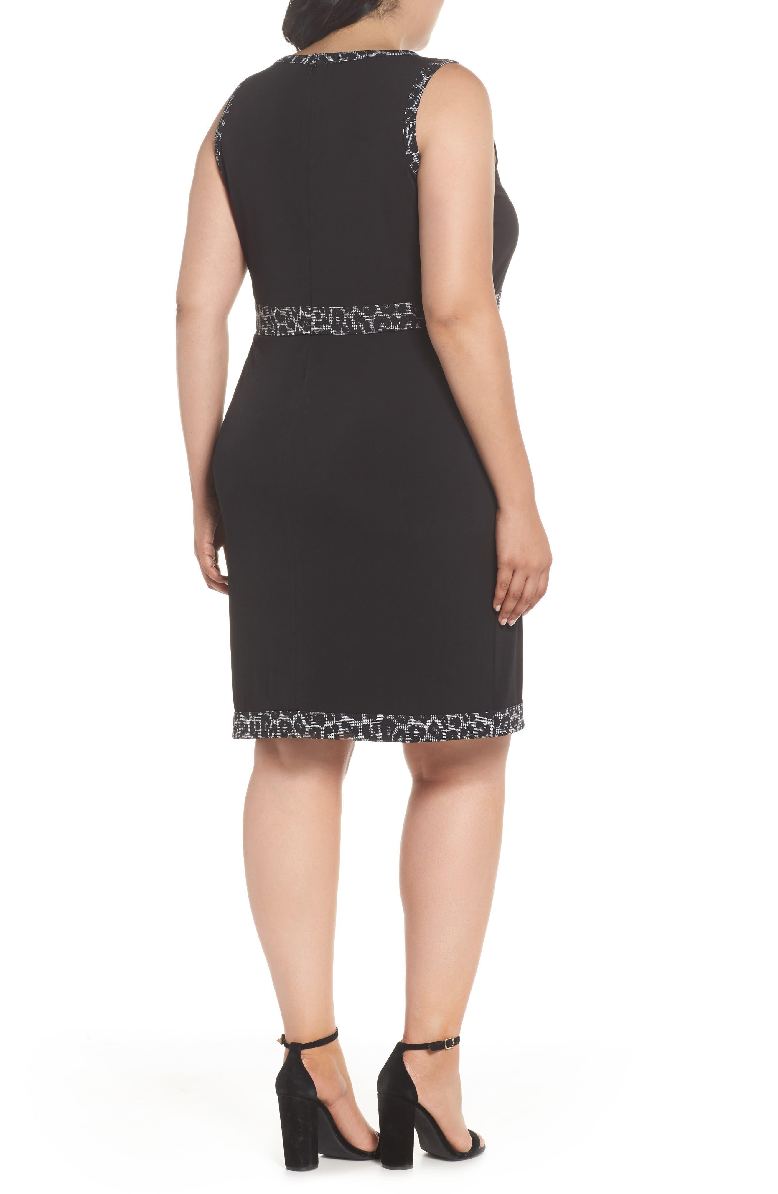 Print Trim Mock Wrap Sheath Dress,                             Alternate thumbnail 2, color,                             Black