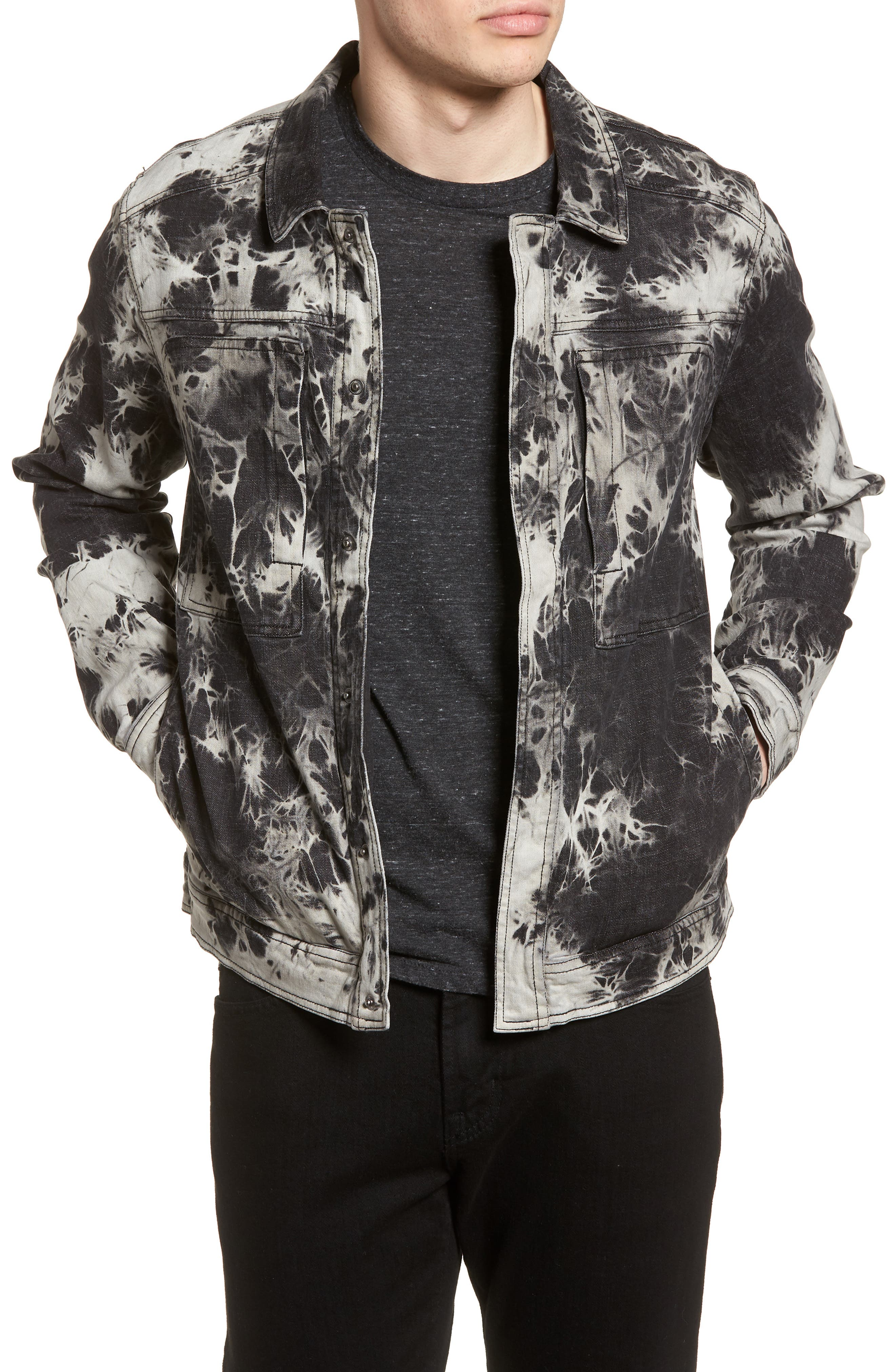 Bleach Tie Dye Denim Jacket,                             Main thumbnail 1, color,                             Black