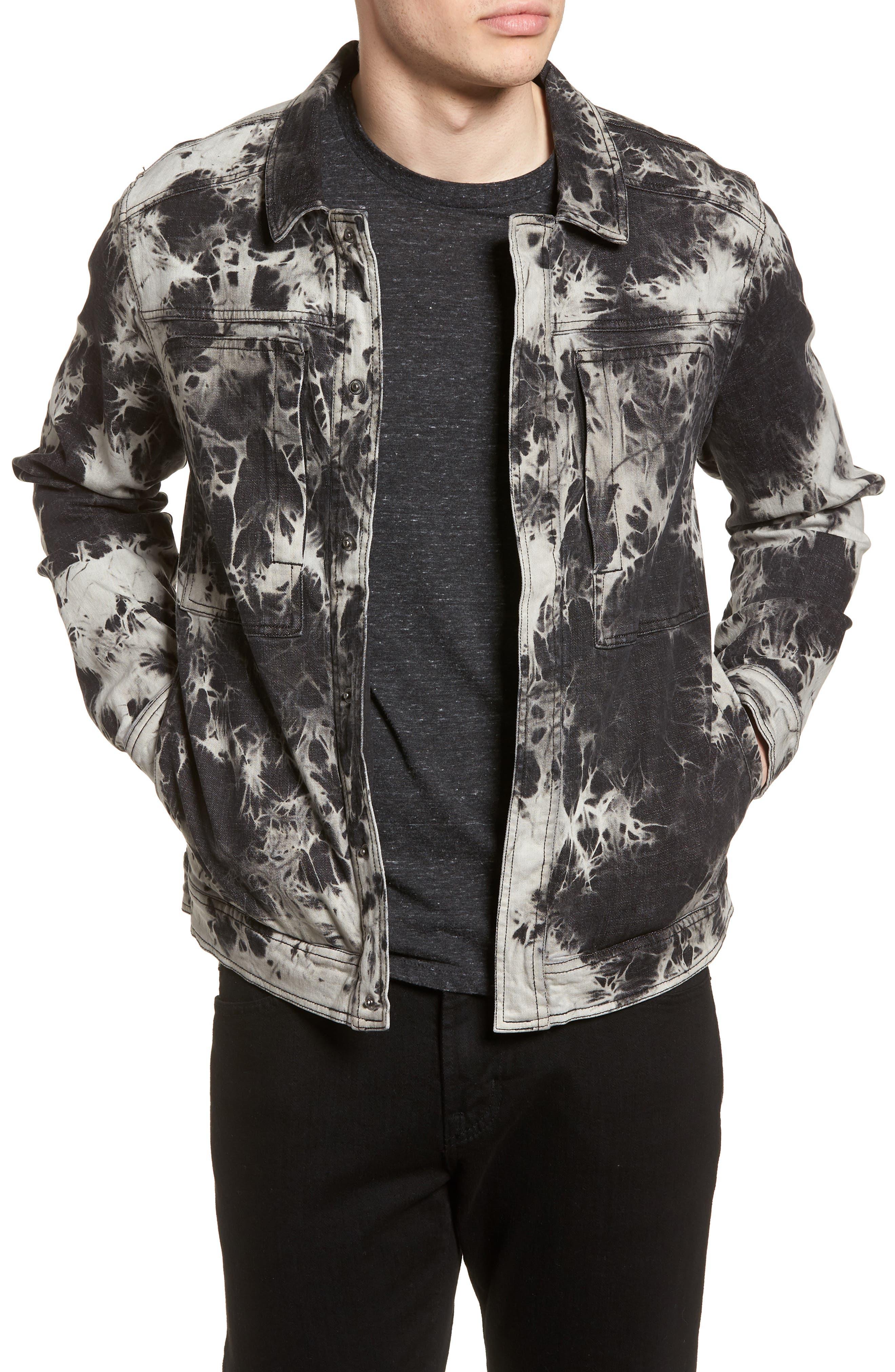 Bleach Tie Dye Denim Jacket,                         Main,                         color, Black