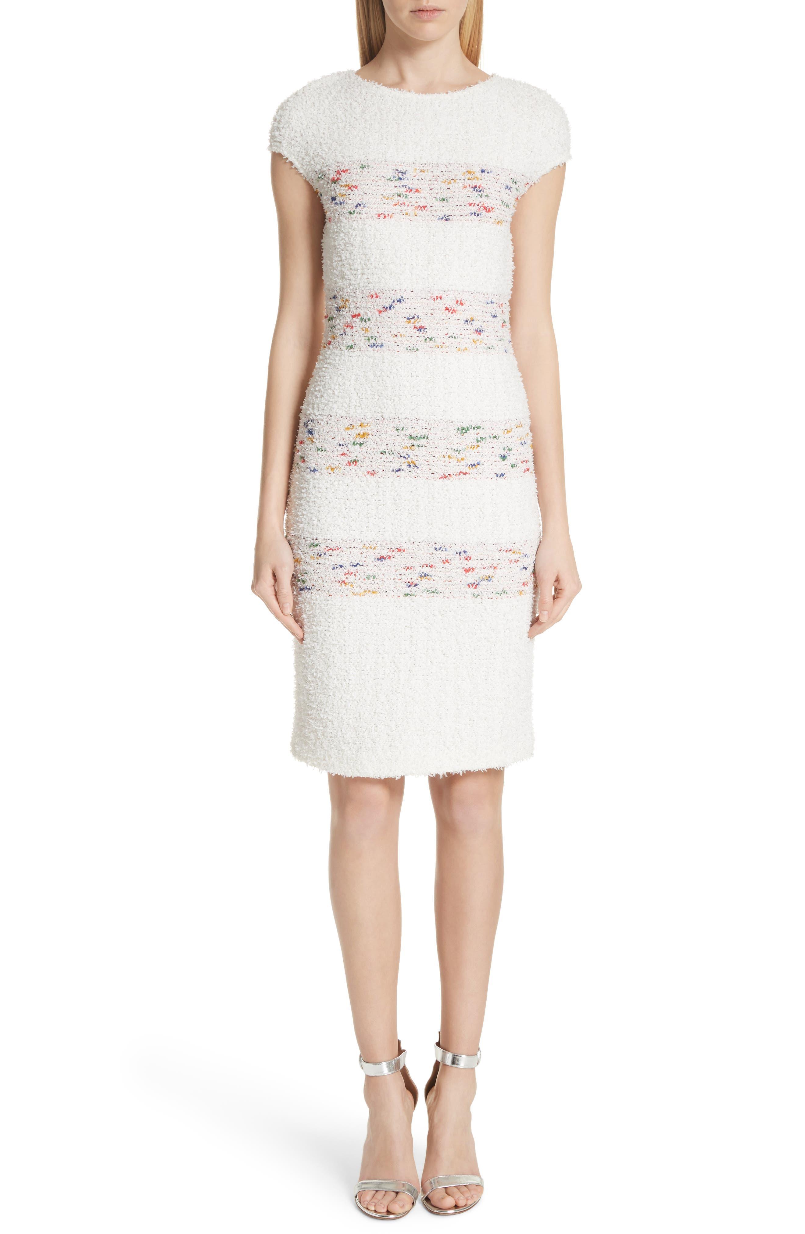 Flagged Stripe Knit Dress,                             Main thumbnail 1, color,                             Cream Multi