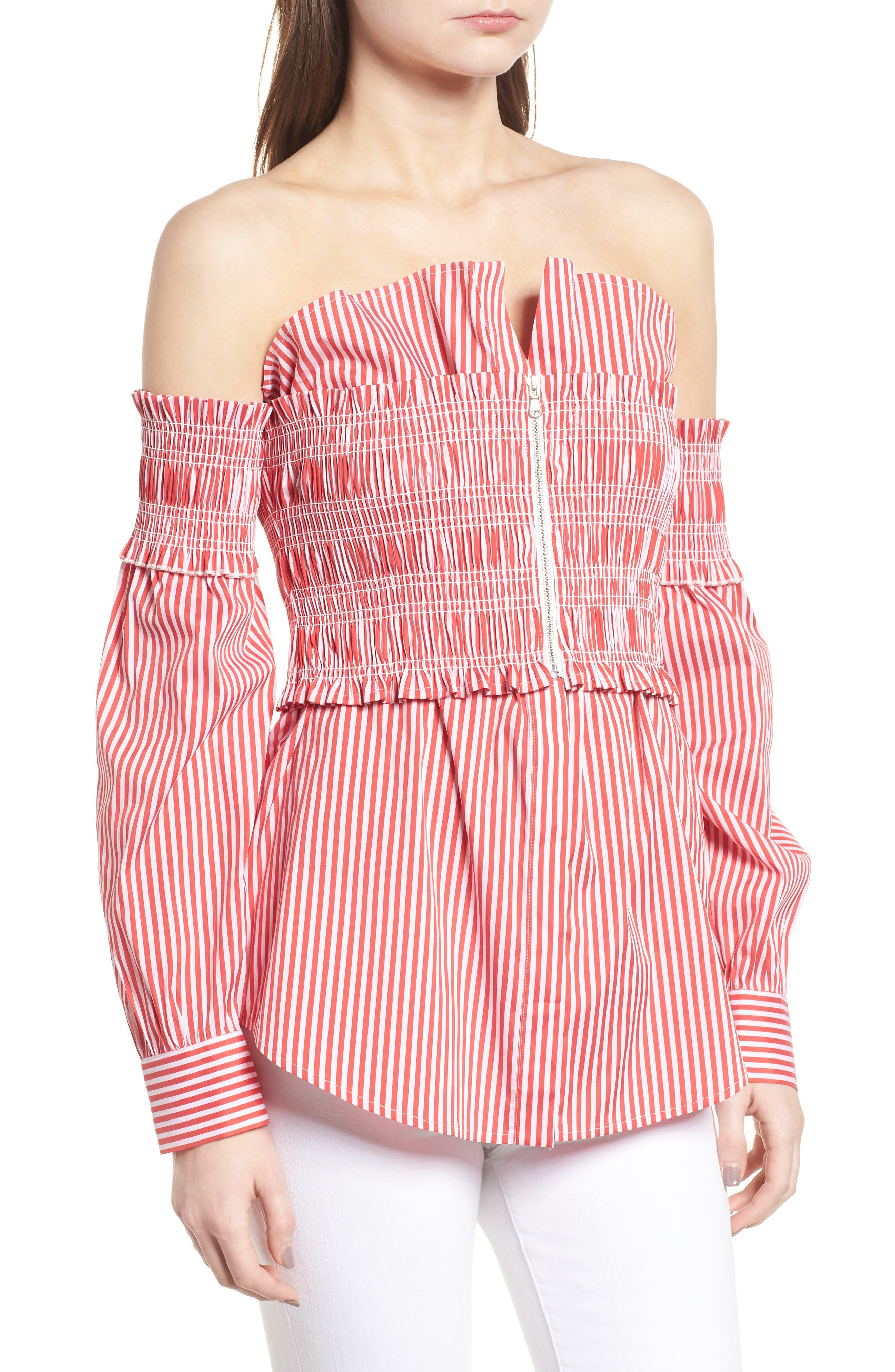 Stripe Smocked Corset Shirt,                             Alternate thumbnail 3, color,                             Red/ White Lucy Stripe