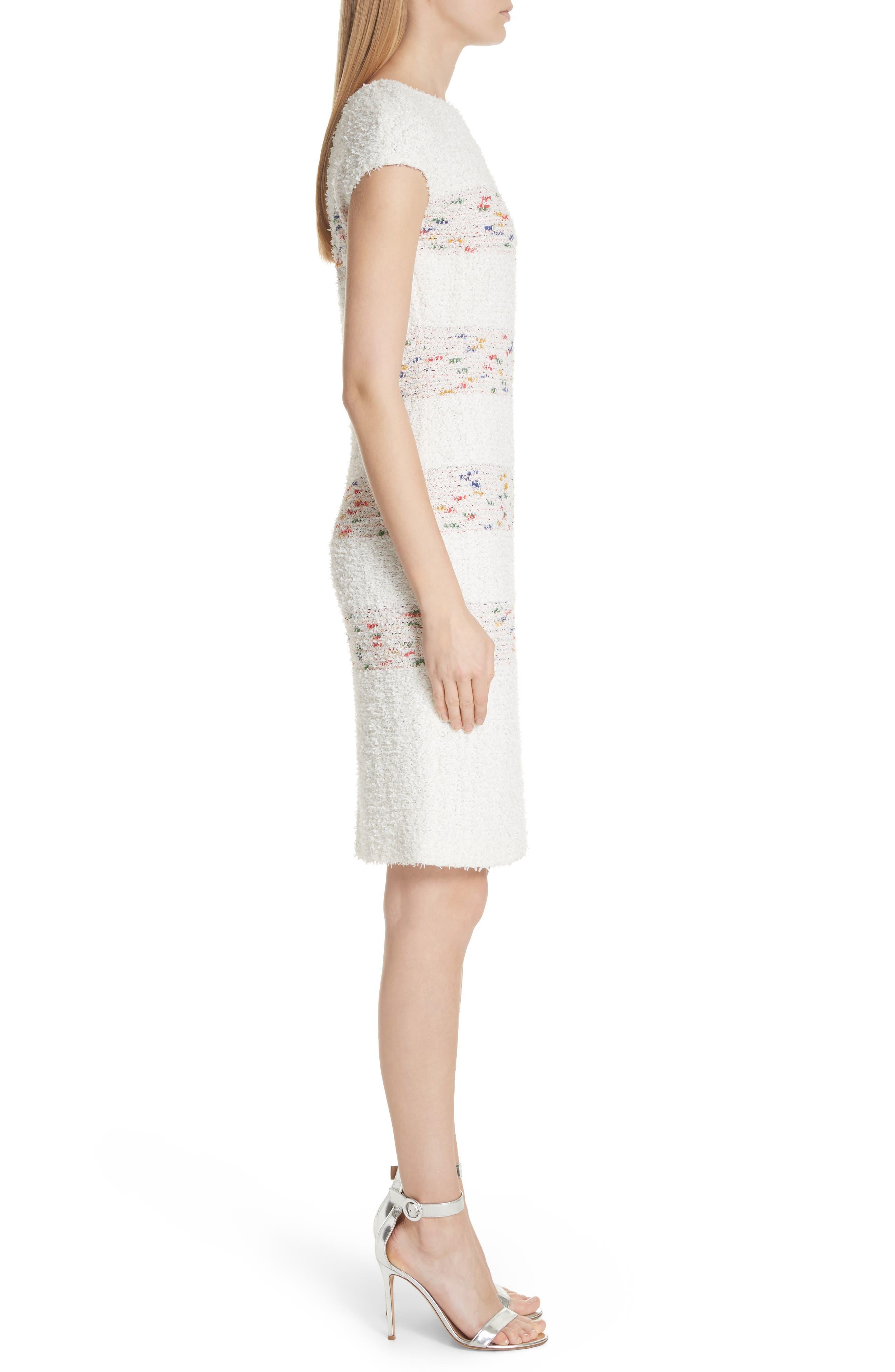 Flagged Stripe Knit Dress,                             Alternate thumbnail 3, color,                             Cream Multi