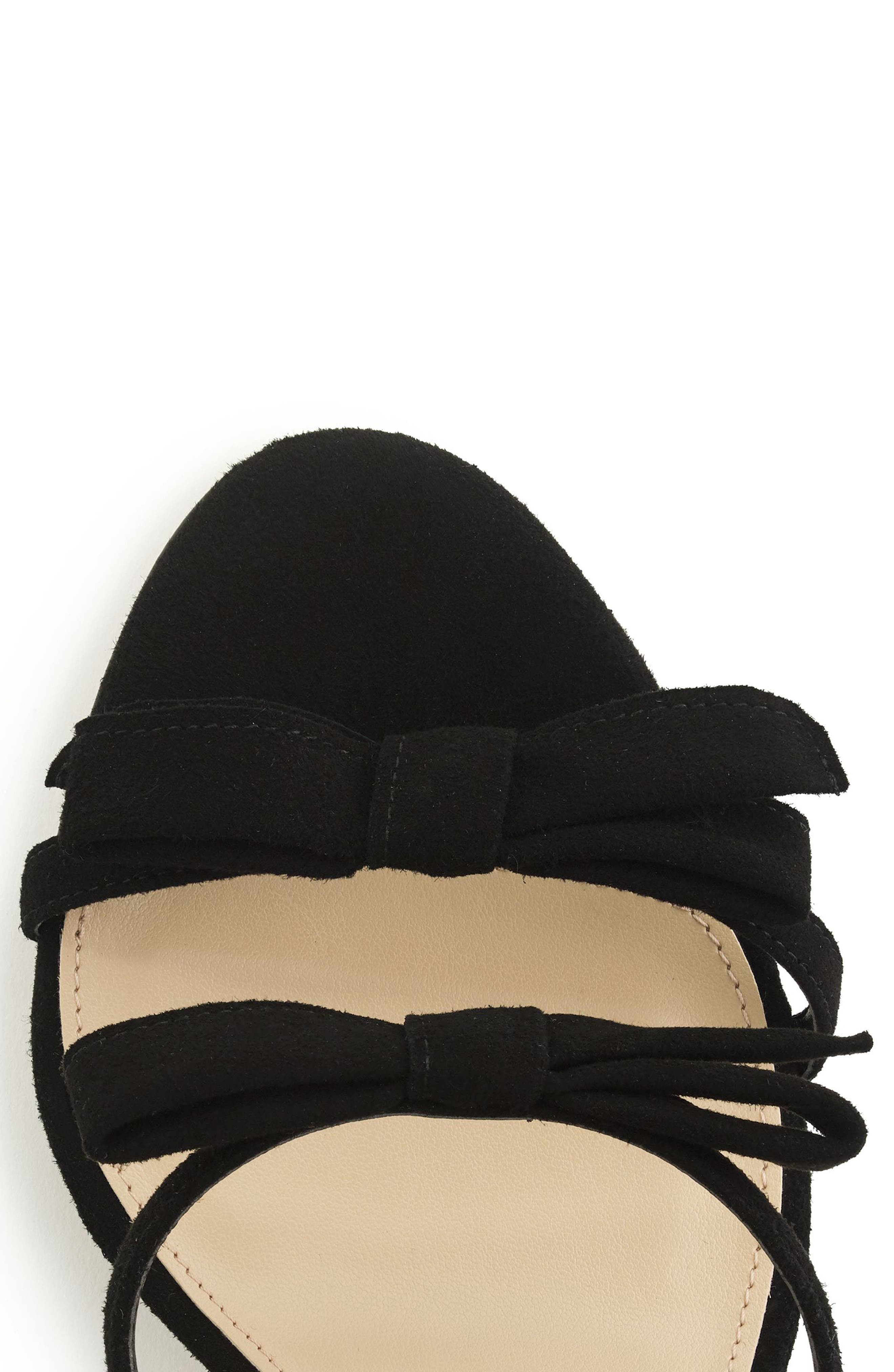 Stella Bow Sandal,                             Alternate thumbnail 3, color,                             Black Fabric