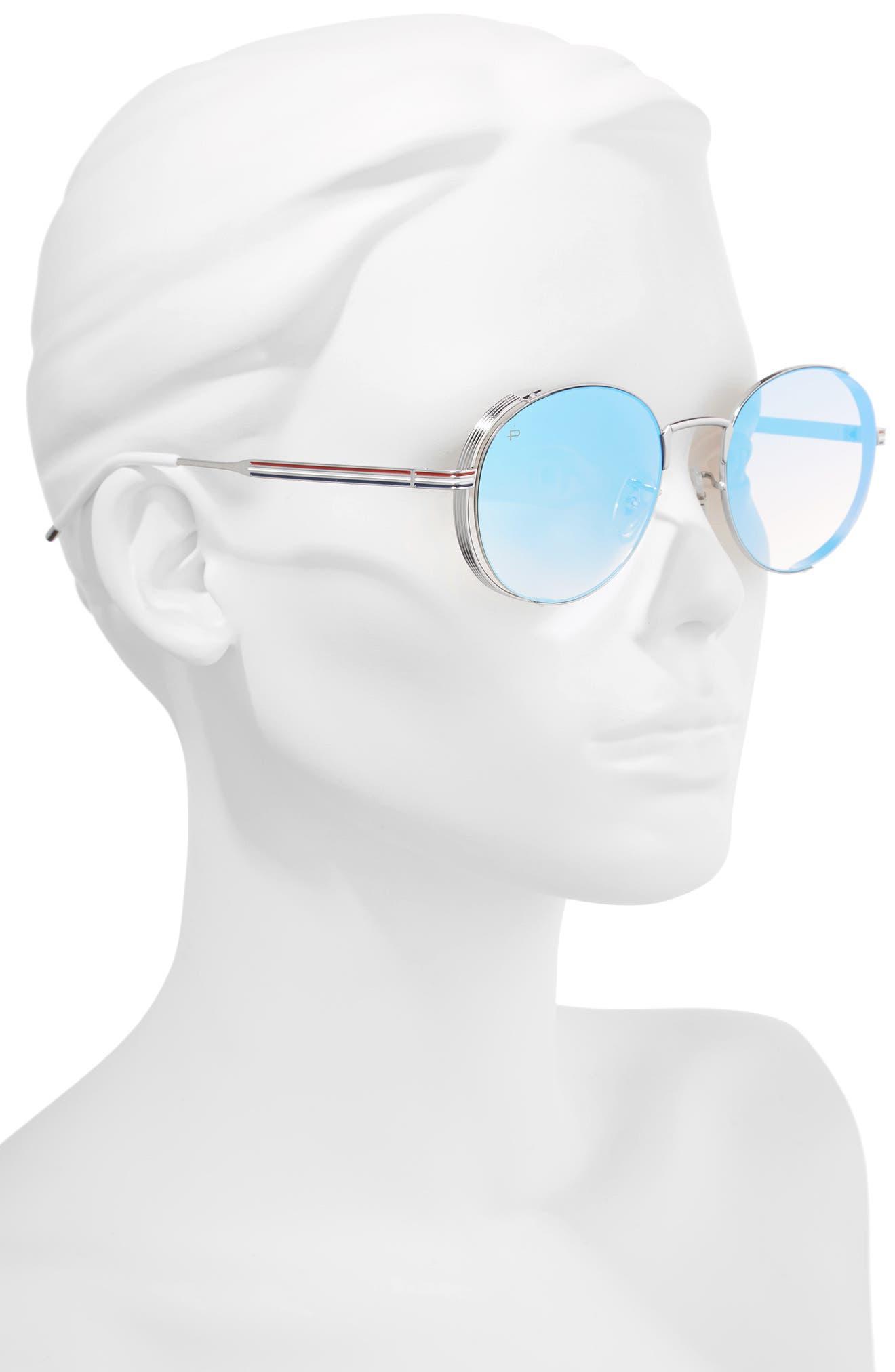 Privé Revaux The Riviera Round Sunglasses,                             Alternate thumbnail 3, color,                             Blue