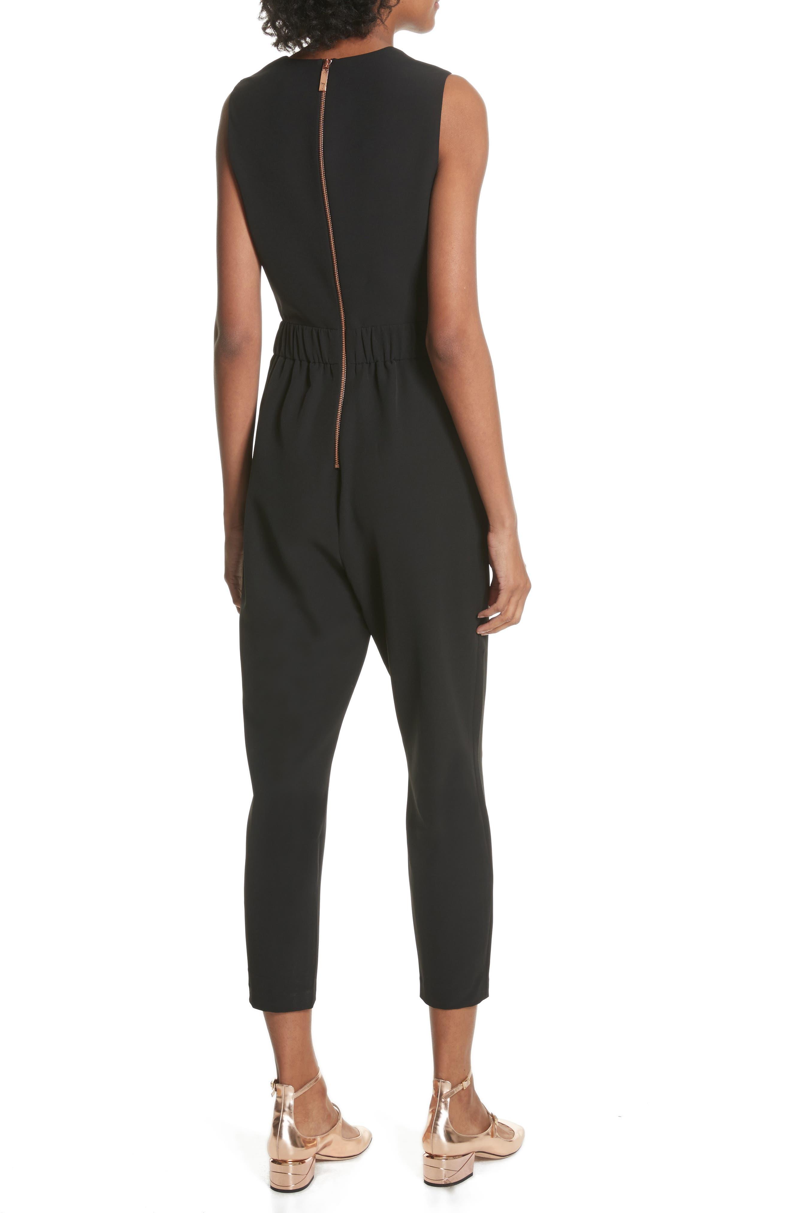 Crisscross Front Jumpsuit,                             Alternate thumbnail 2, color,                             Black