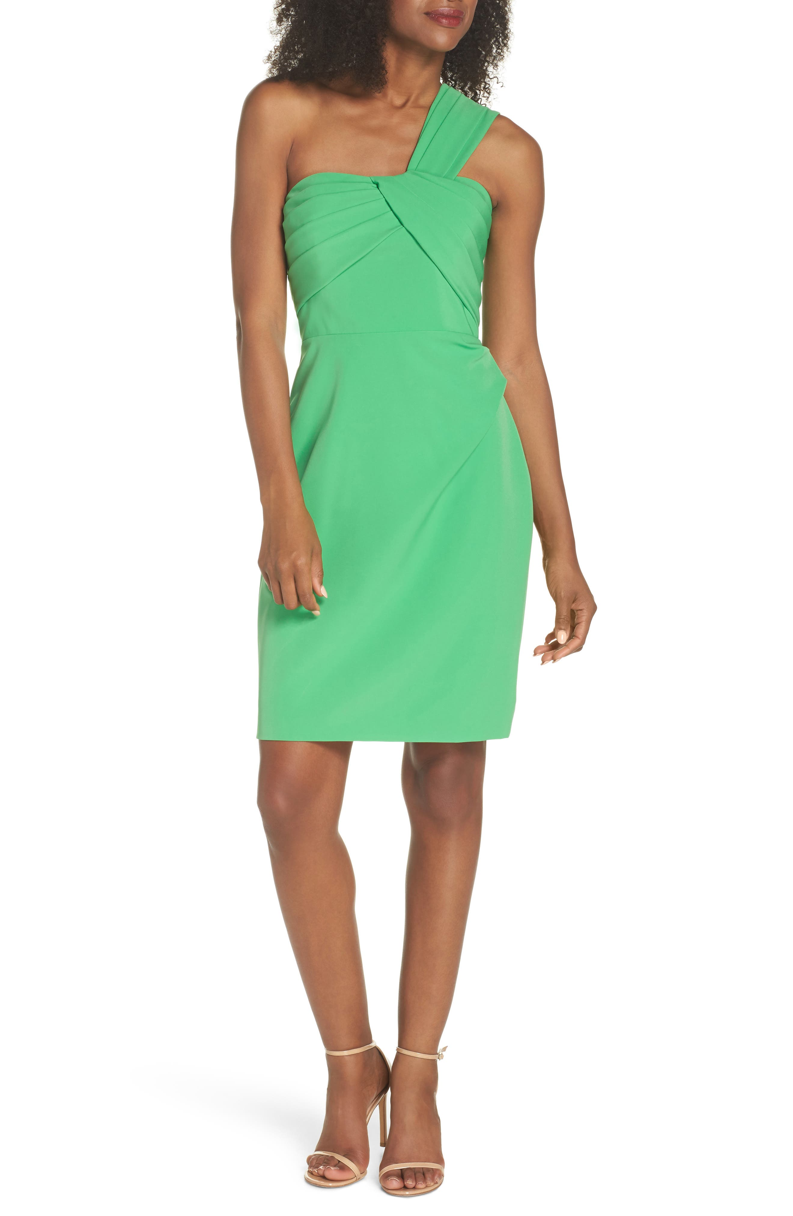 Laguna One-Shoulder Scuba Dress,                             Main thumbnail 1, color,                             Green