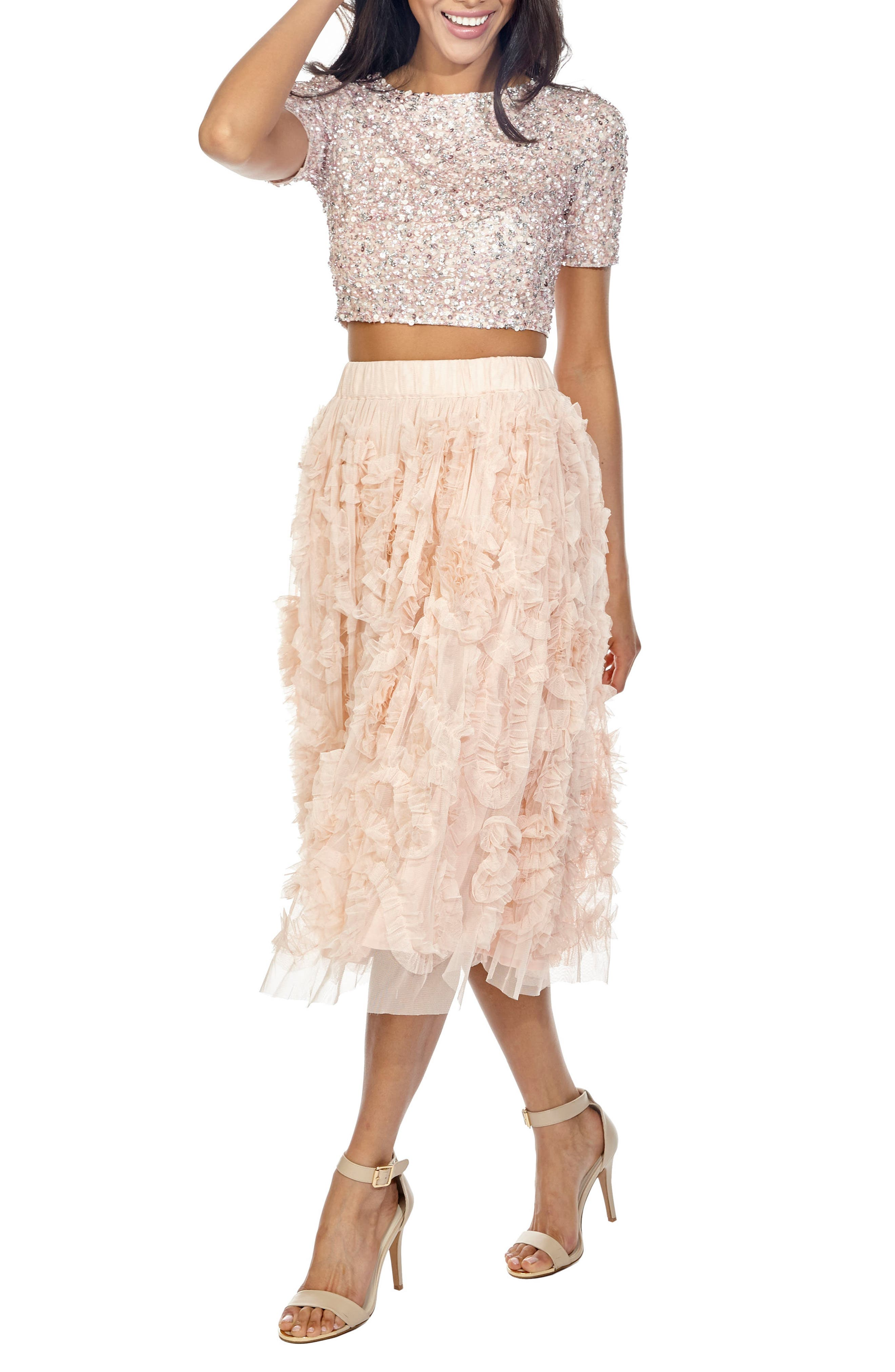 Picasso Sequin Top & Tulle Skirt Combo,                             Alternate thumbnail 3, color,                             Nude